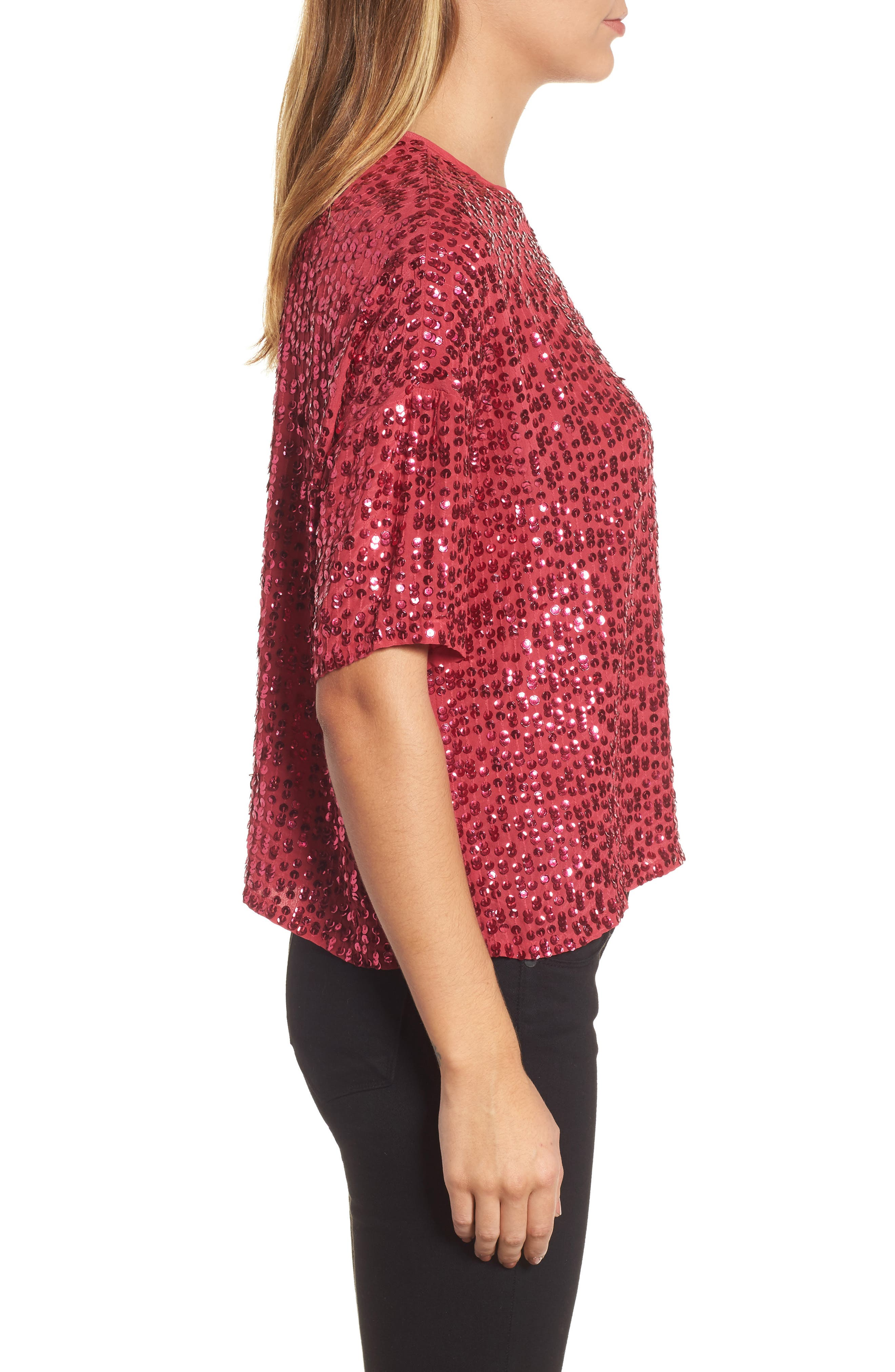 Short Sleeve Sequin Top,                             Alternate thumbnail 3, color,                             Hot Pink