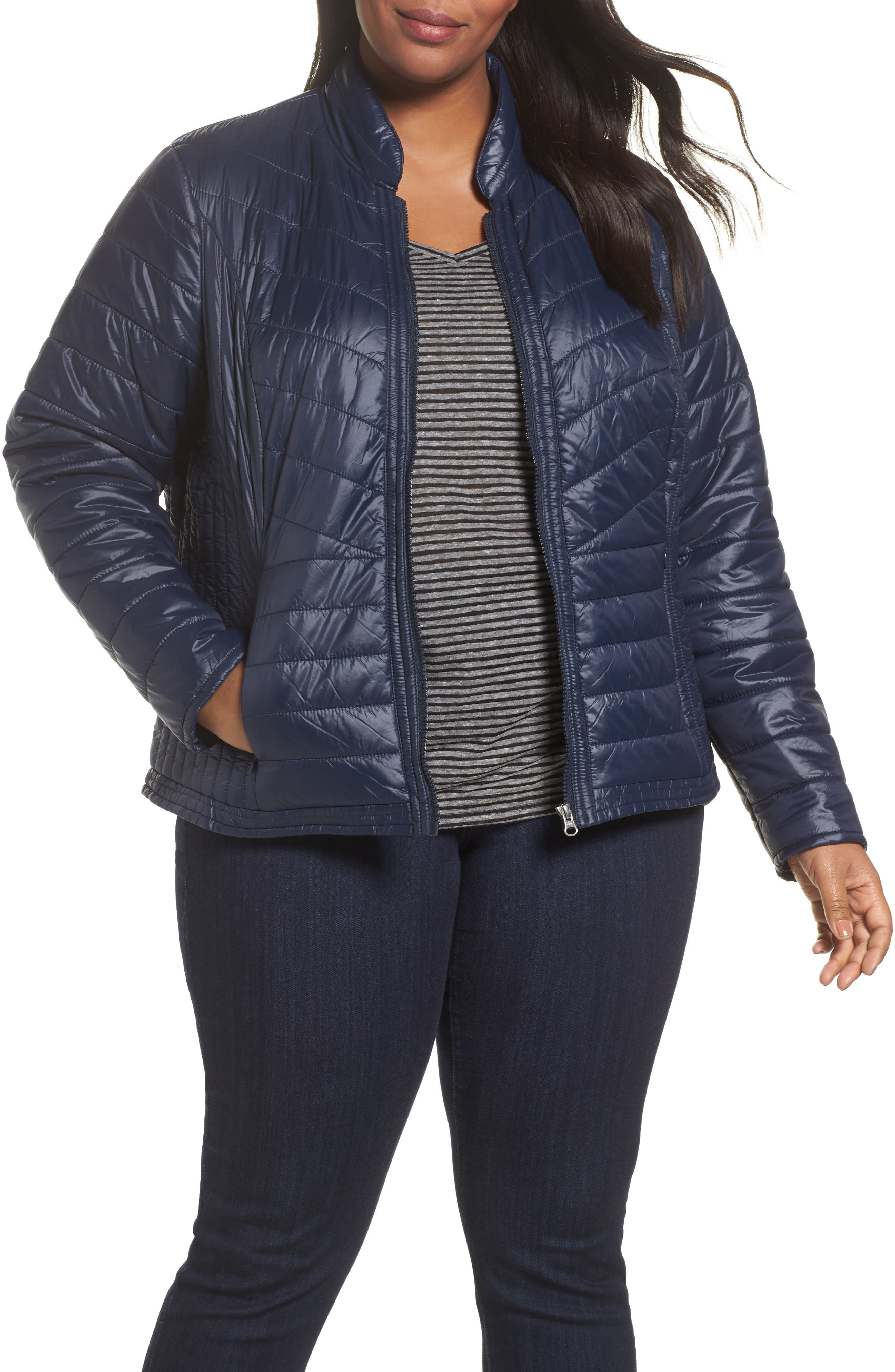 Twisted Quilted Puffer Jacket,                         Main,                         color, Navy Blazer