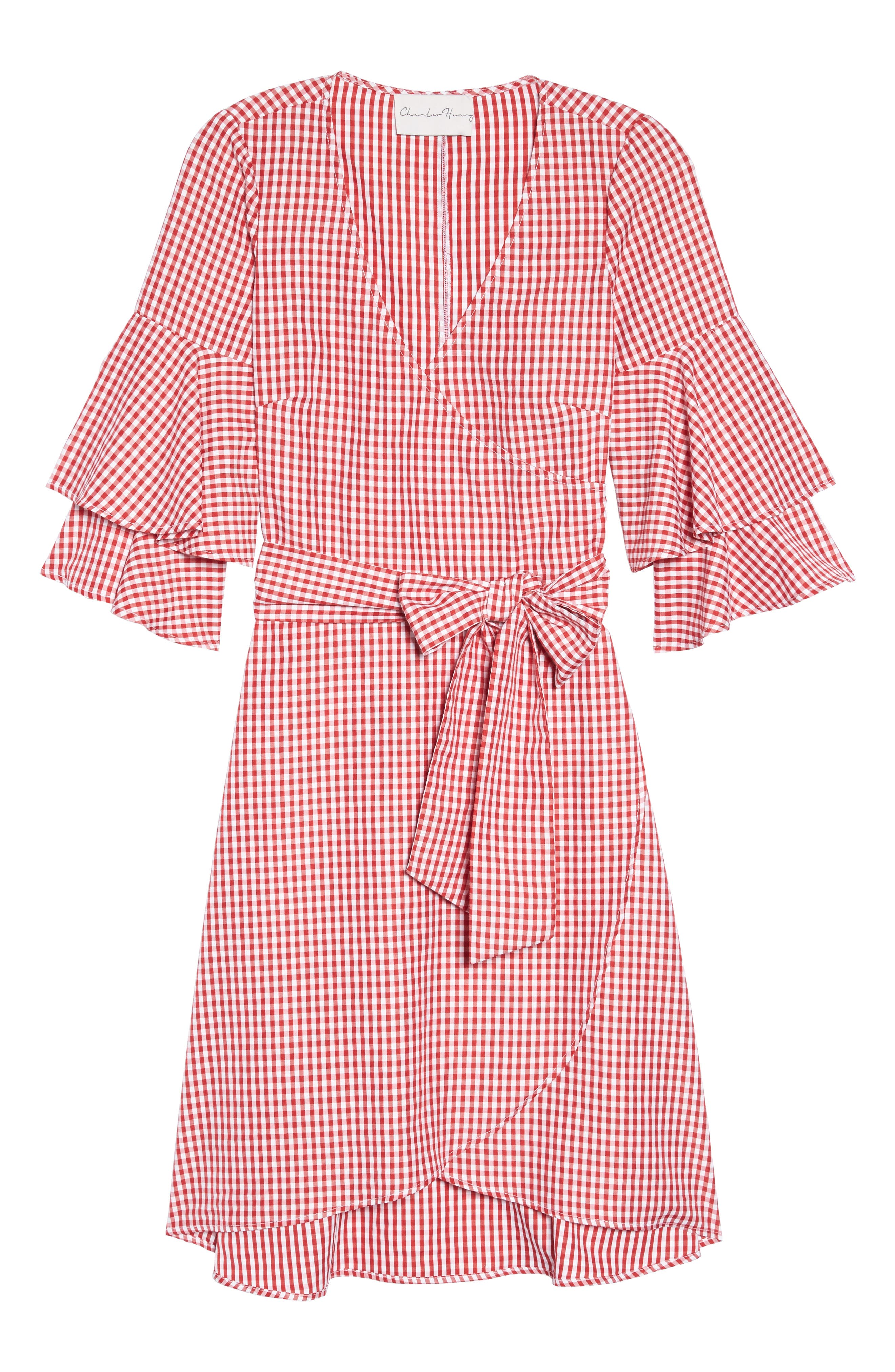 Ruffle Wrap Dress,                             Alternate thumbnail 7, color,                             Red/ White Gingham