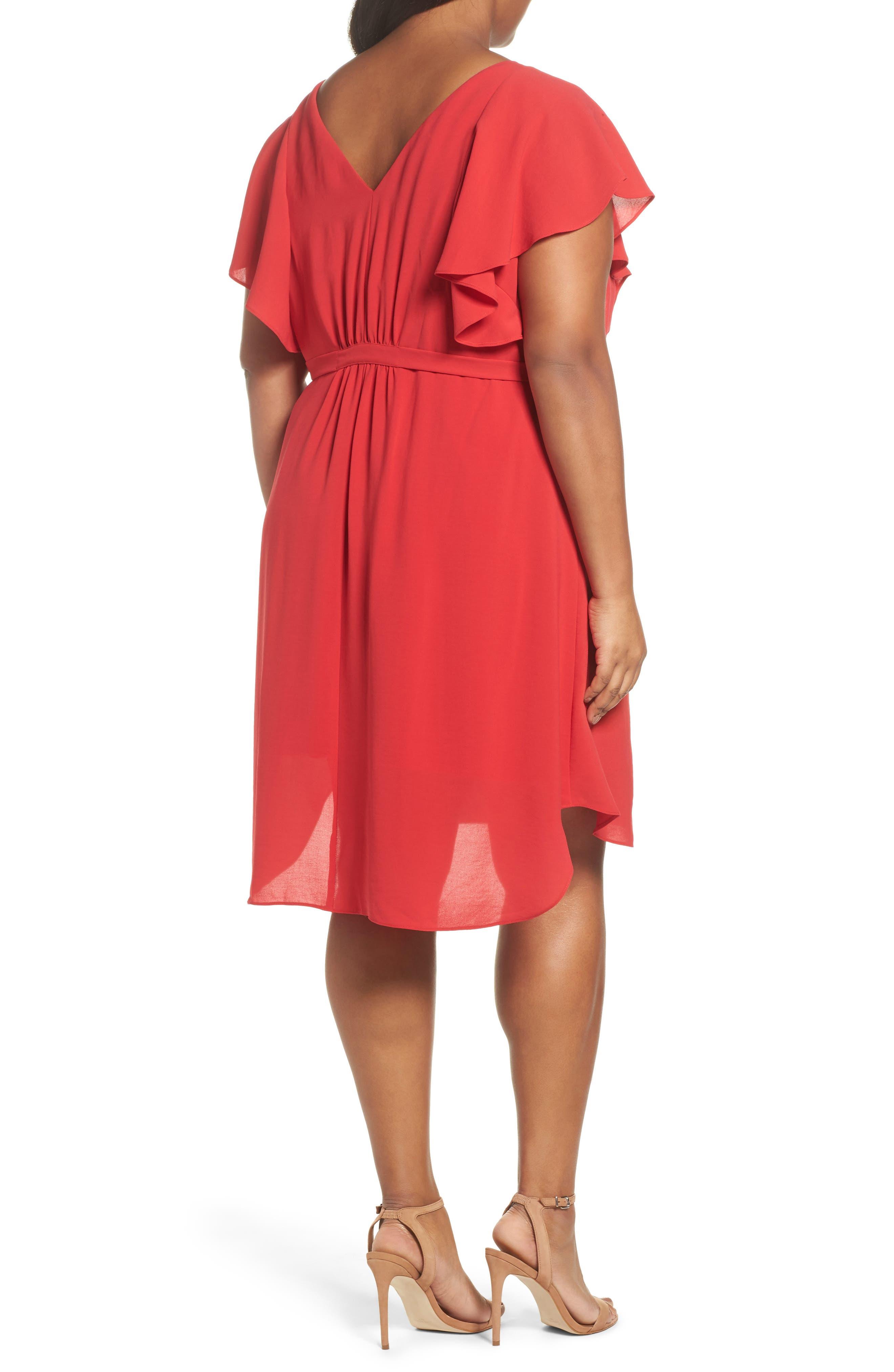 Crepe Flutter Sleeve Dress,                             Alternate thumbnail 2, color,                             Red Fire