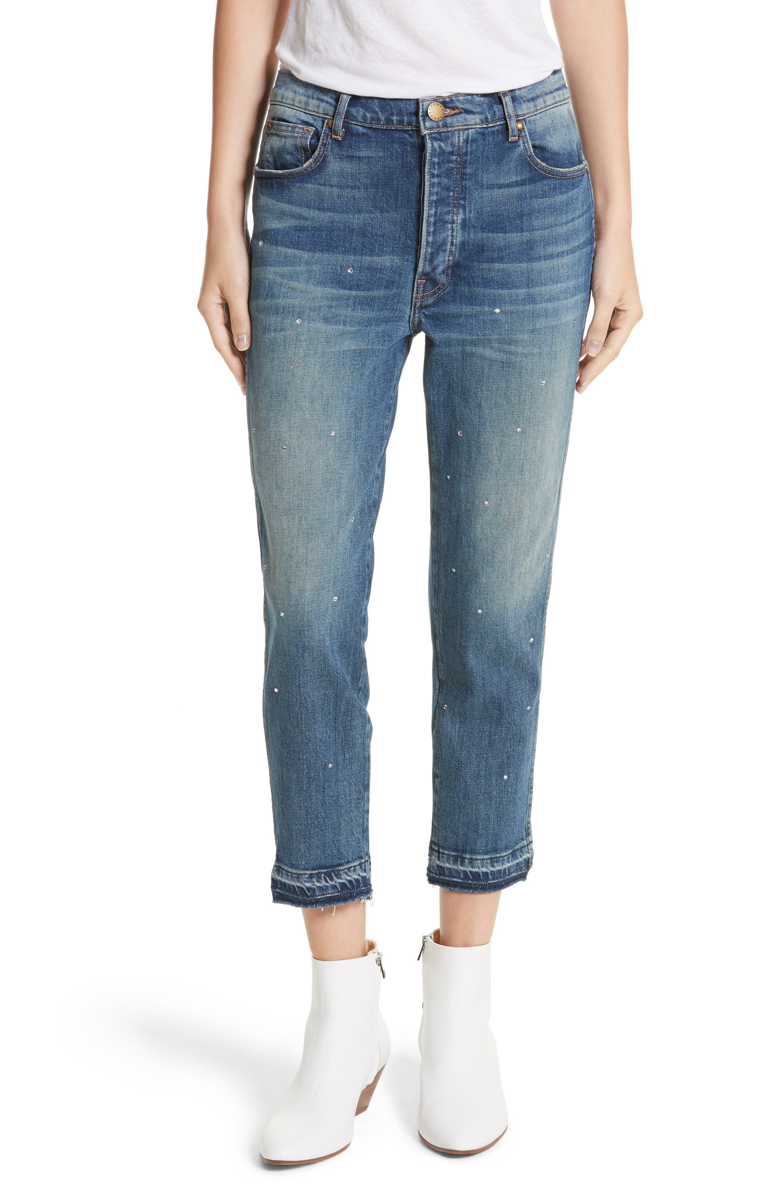 The Fellow Rhinestone Jeans,                         Main,                         color, Drifter Wash