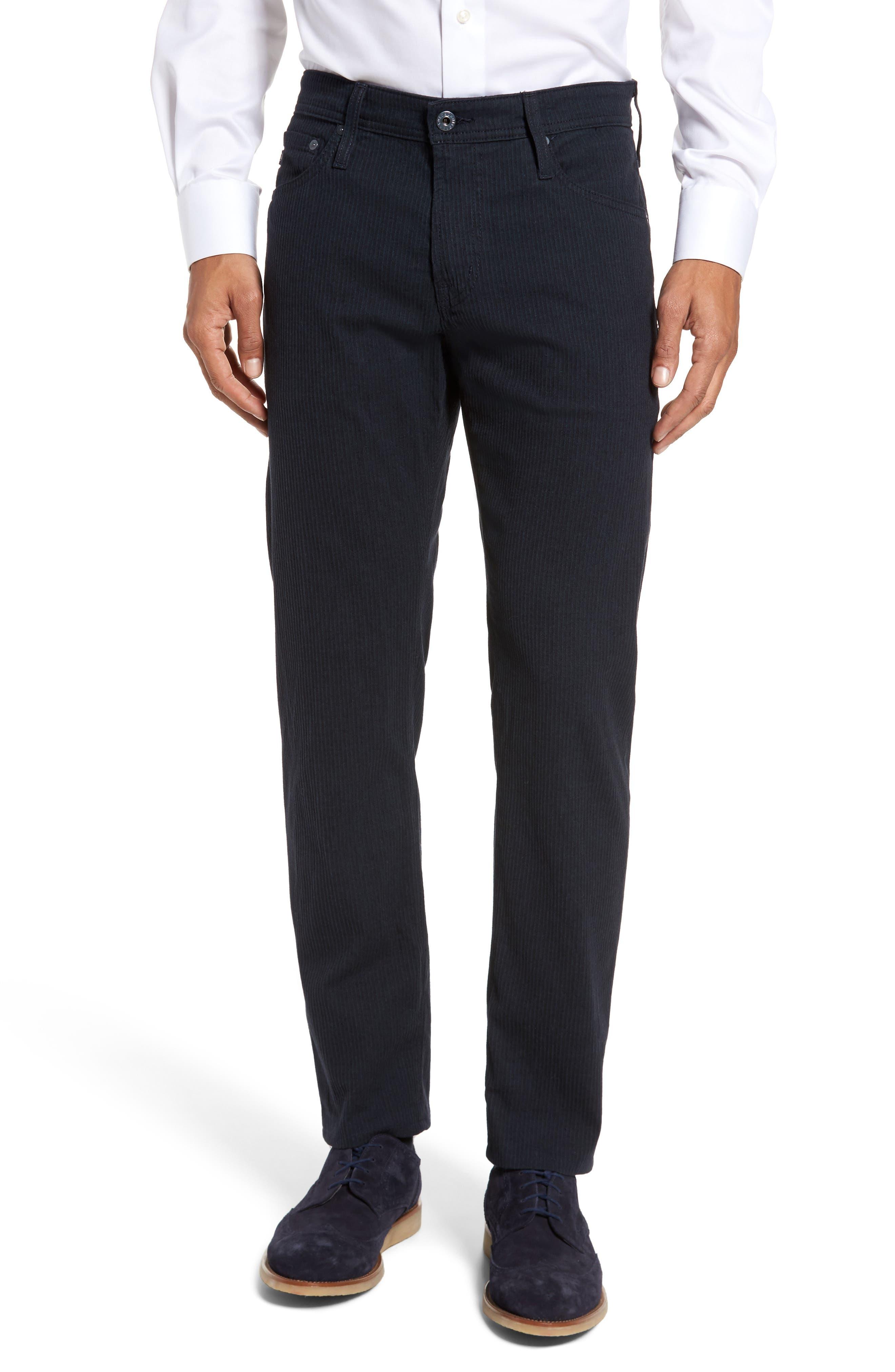 Tellis Modern Slim Stripe Five-Pocket Pants,                         Main,                         color, Midnight Shadow