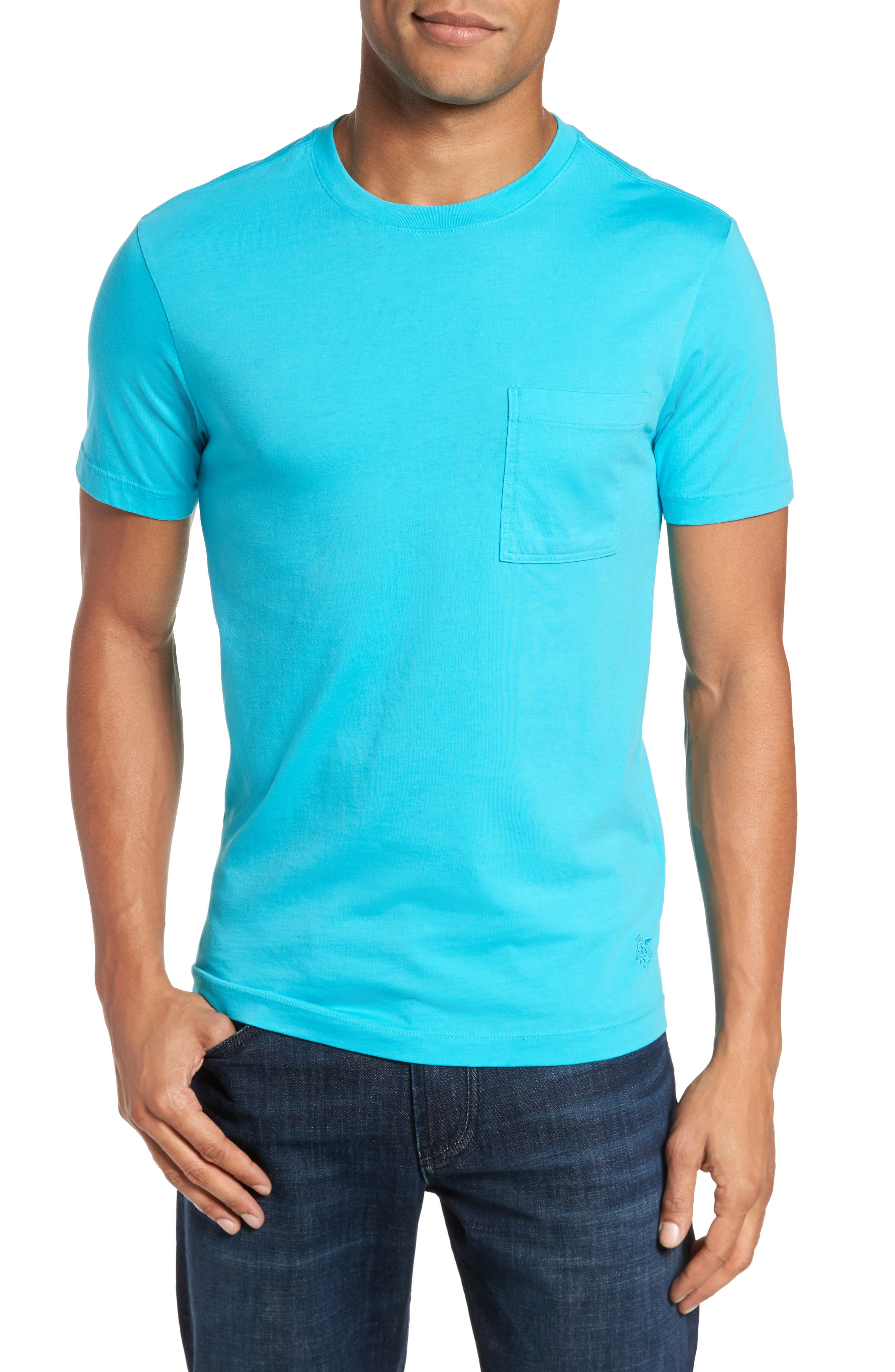 Classic Fit Pocket T-Shirt,                         Main,                         color, Azure