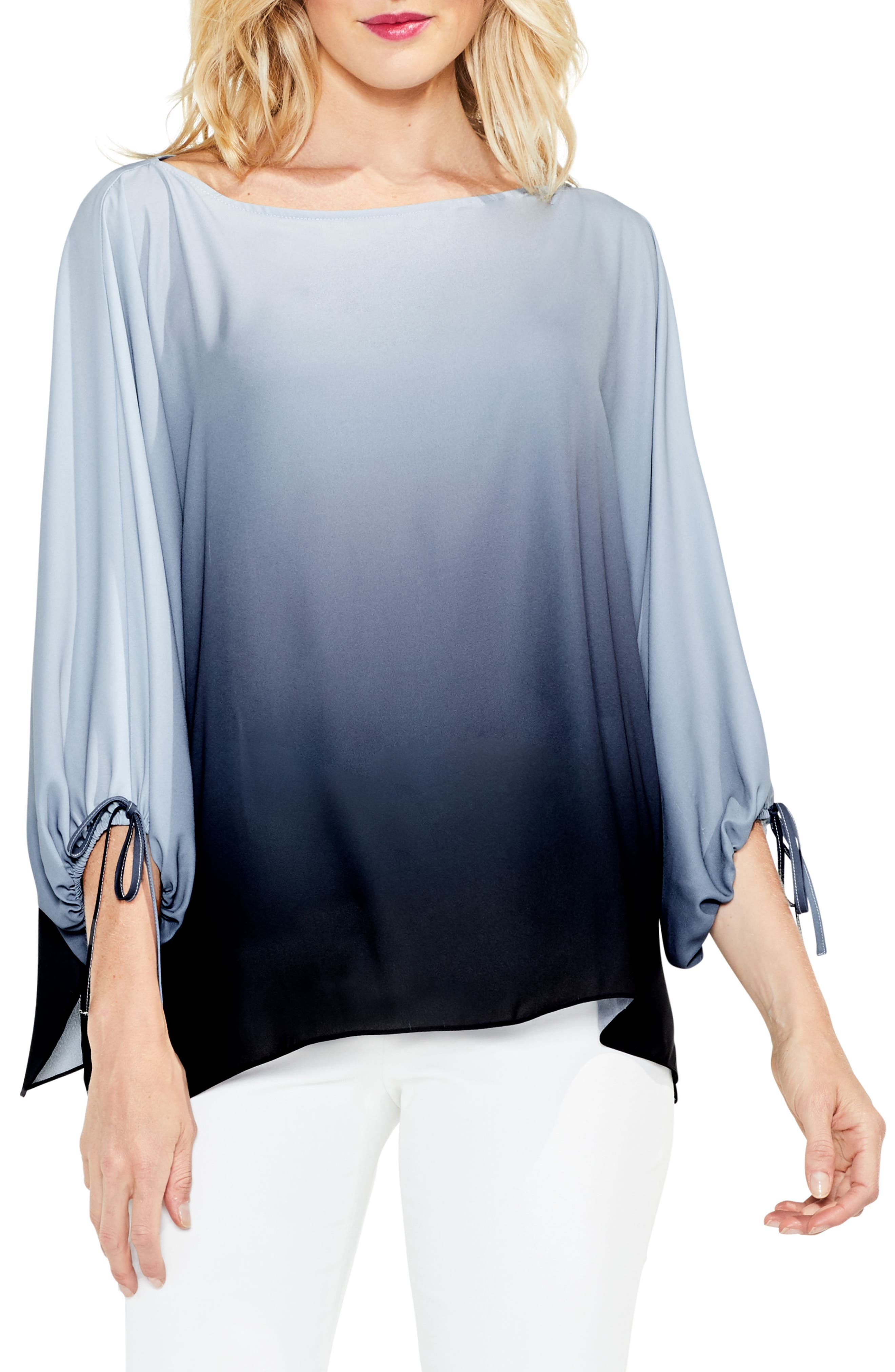 Alternate Image 1 Selected - Vince Camuto Echo Ombré Tie Cuff Blouse (Regular & Petite)
