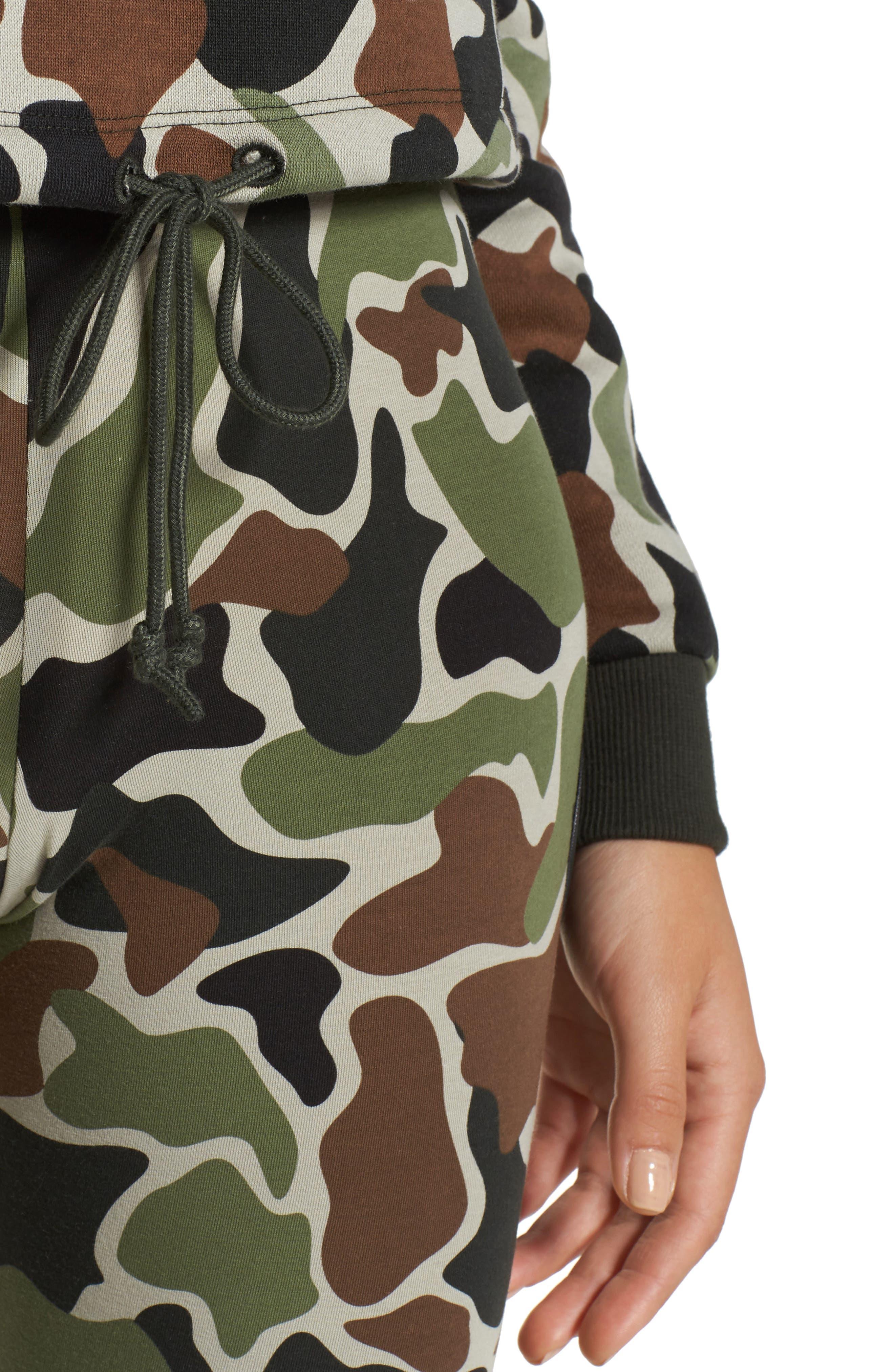 Alternate Image 4  - adidas Camo Print Drawstring Crop Sweatshirt