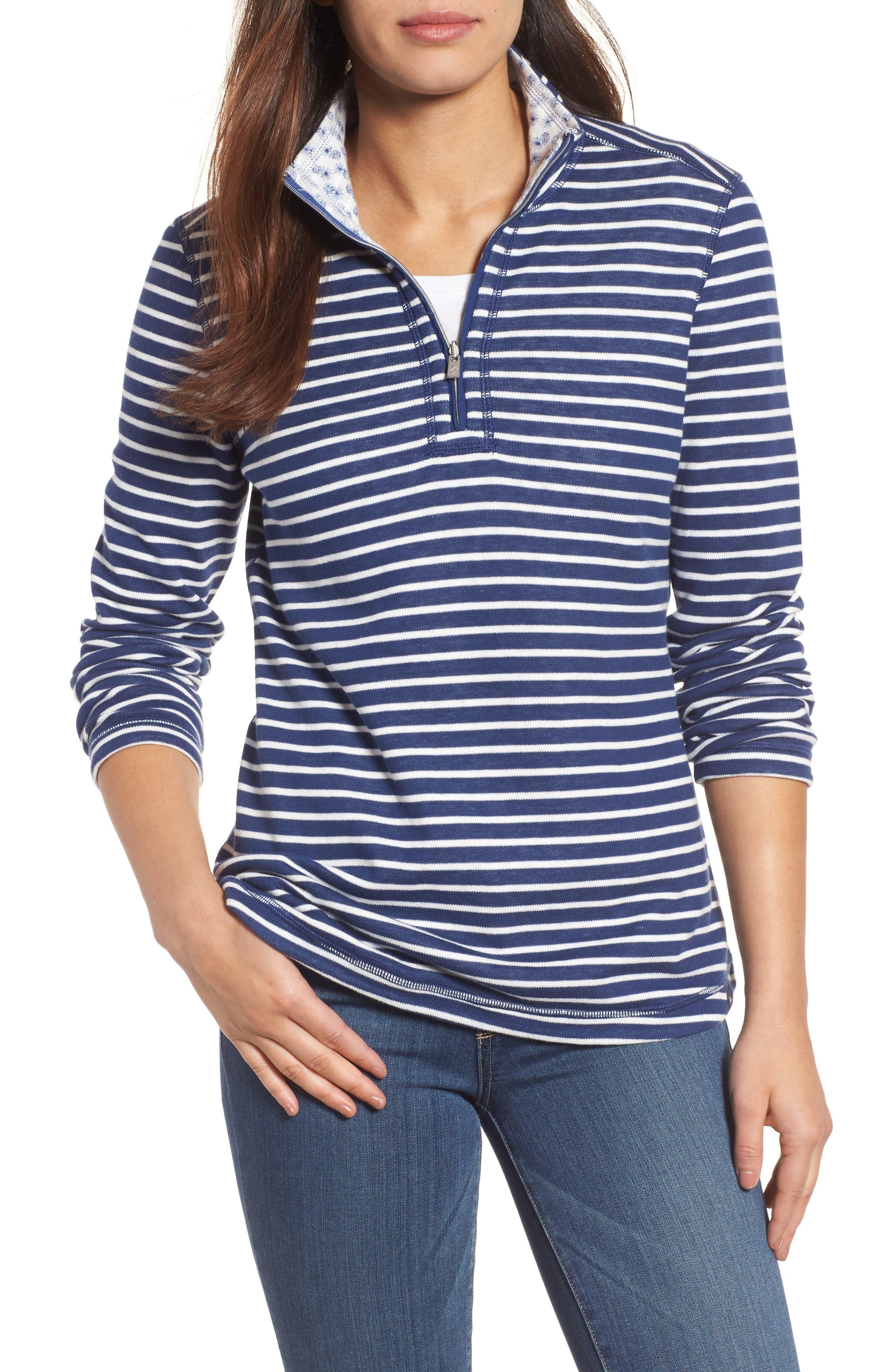 Tommy Bahama Le Petite Reversible Half-Zip Sweatshirt