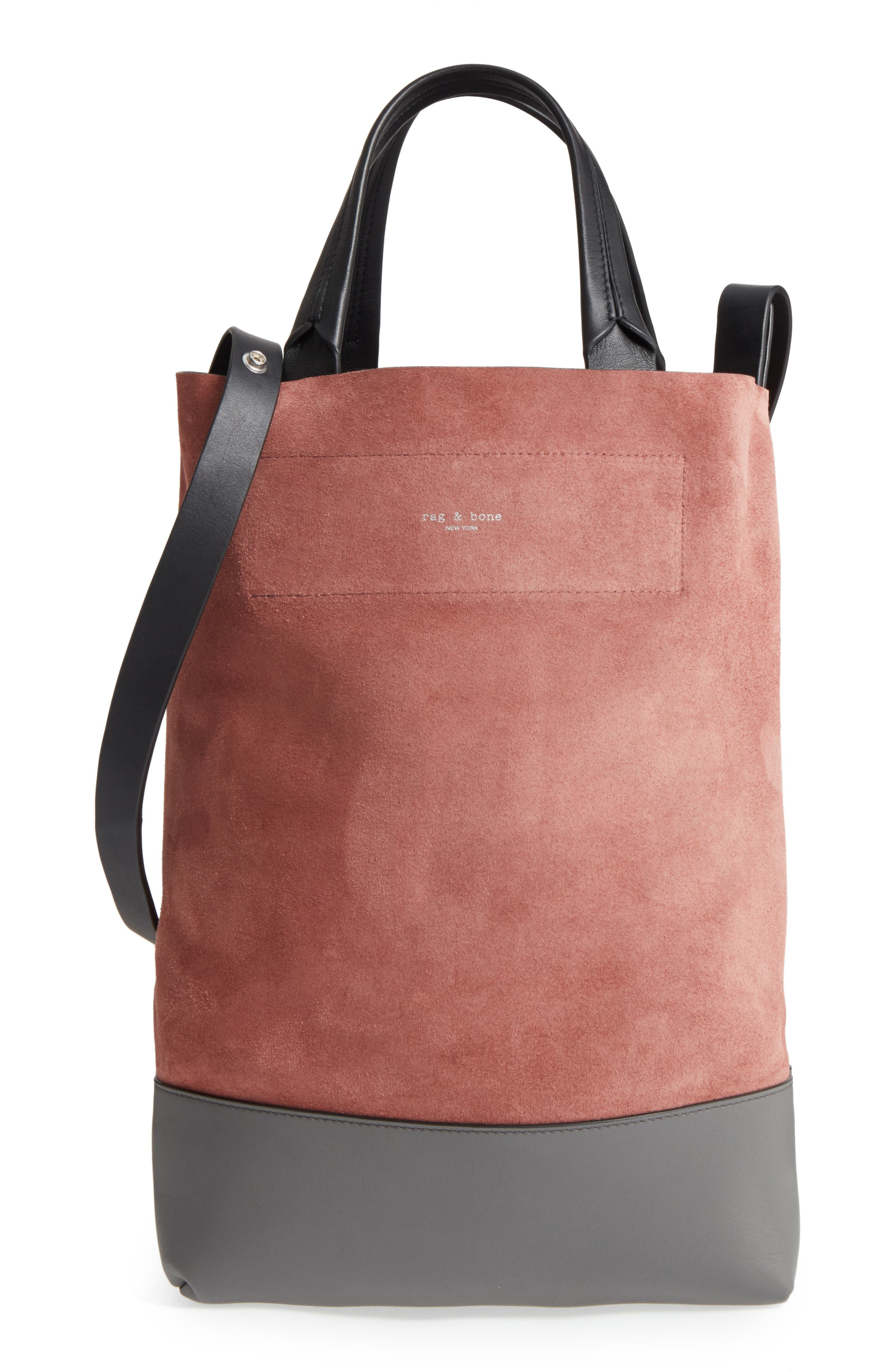 Walker Convertible Suede & Leather Tote,                         Main,                         color, Mauve Suede