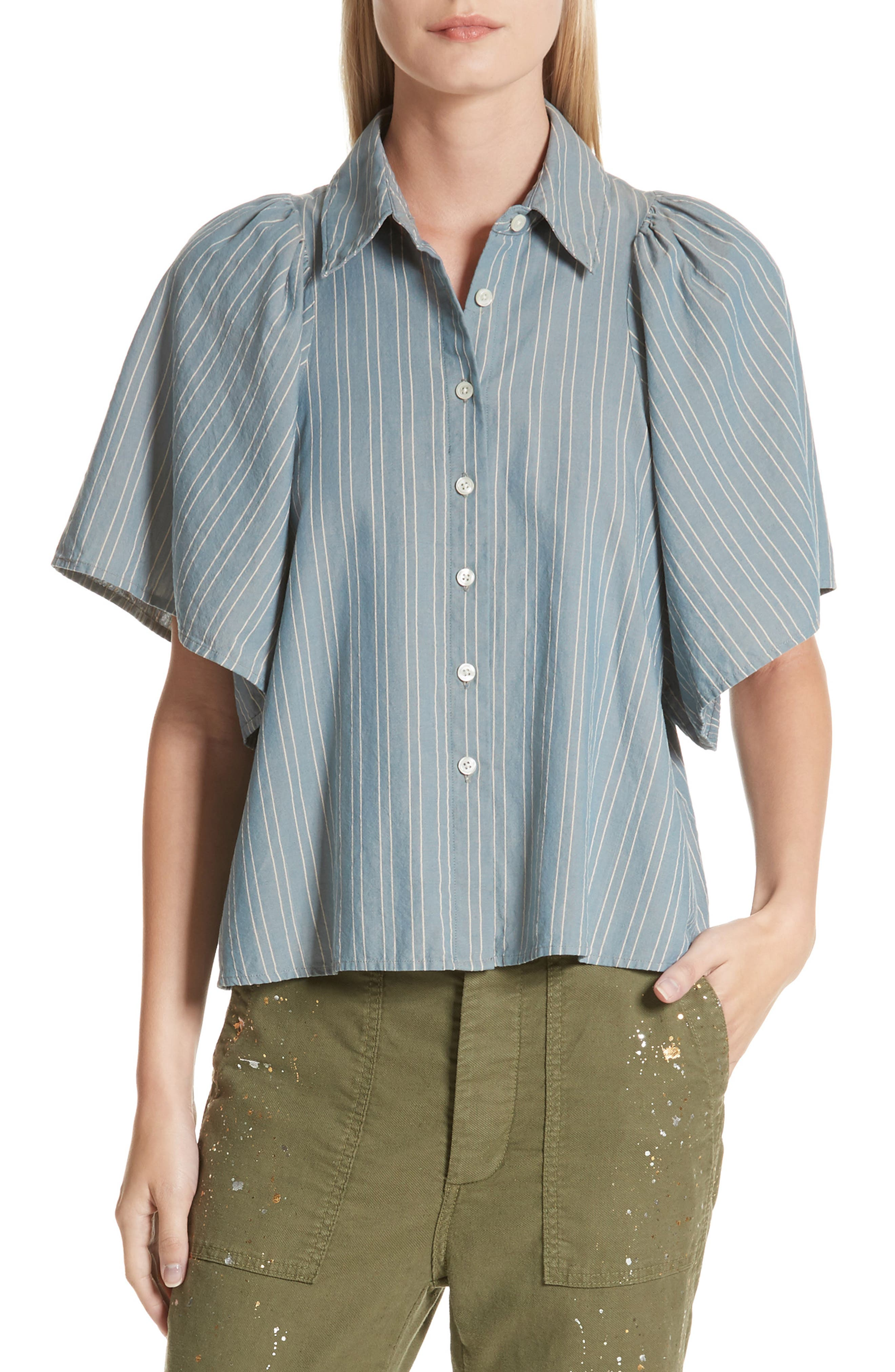 The Butterfly Button Up Shirt,                         Main,                         color, Chambray Stripe