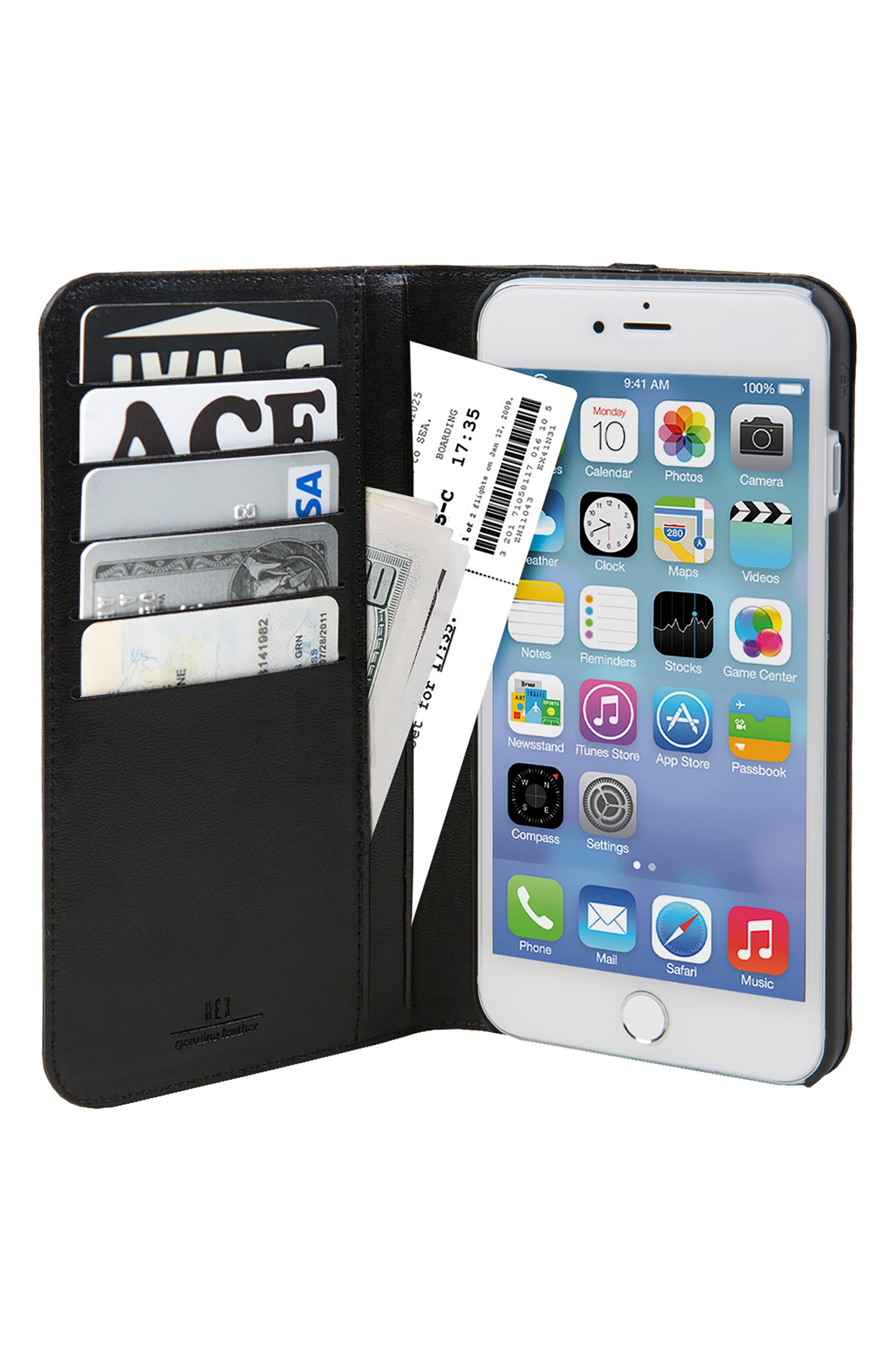 Icon iPhone 6/6s/7/8 Plus Wallet Case,                             Alternate thumbnail 2, color,                             Black