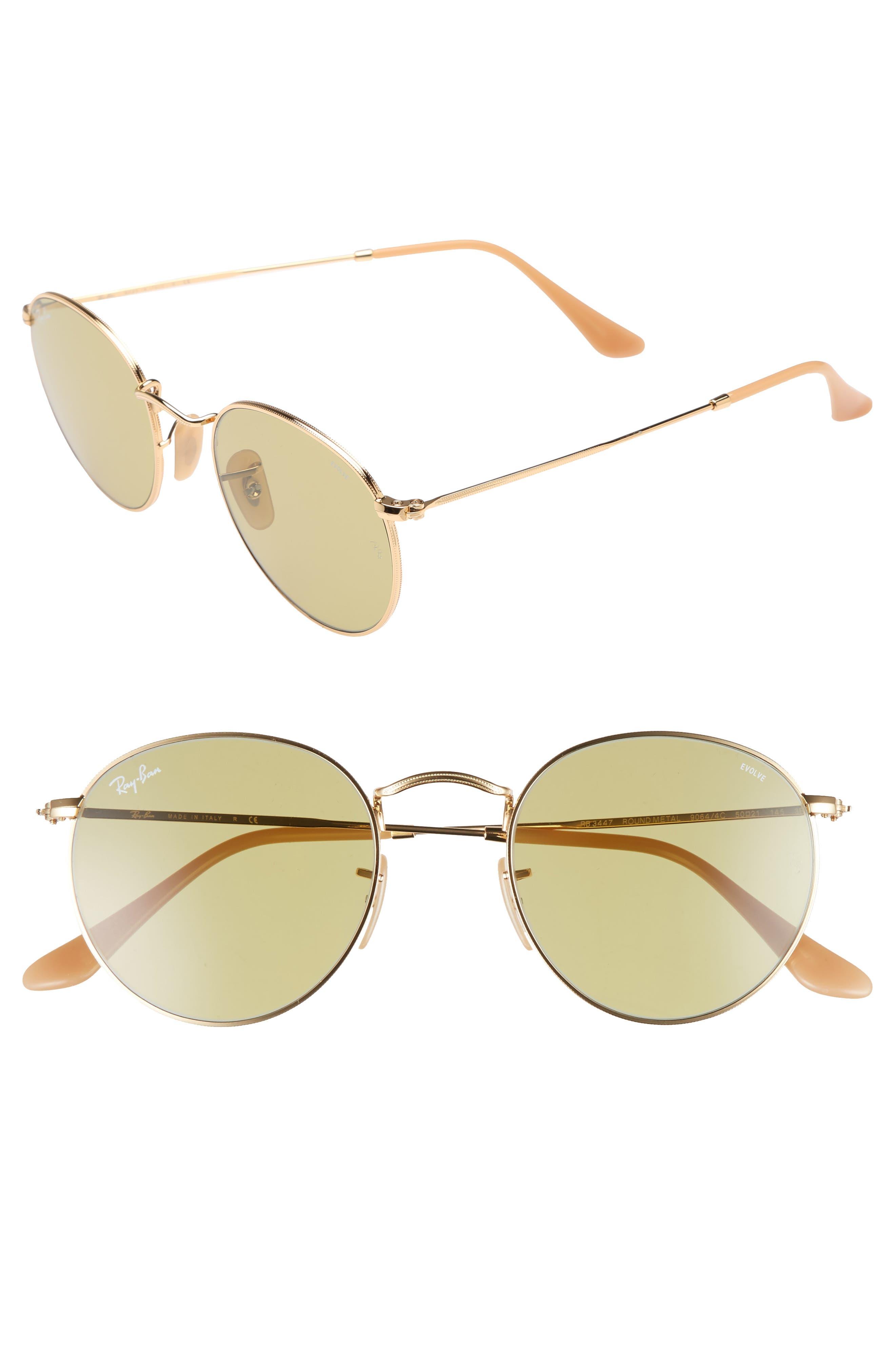 Ray-Ban 50mm Polarized Round Sunglasses