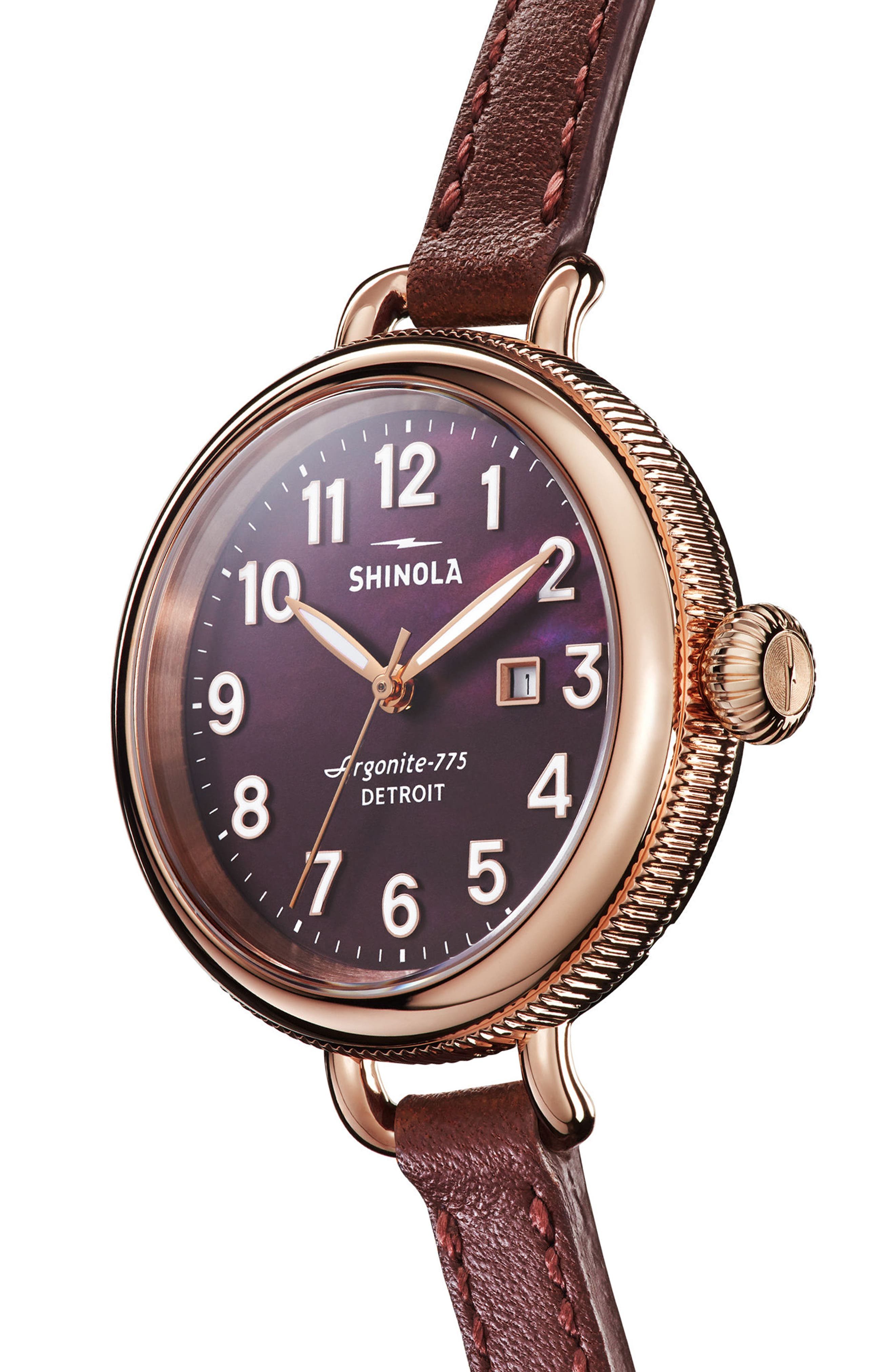 The Birdy Leather Strap Watch, 34mm,                             Alternate thumbnail 3, color,                             Burgundy/ Gold