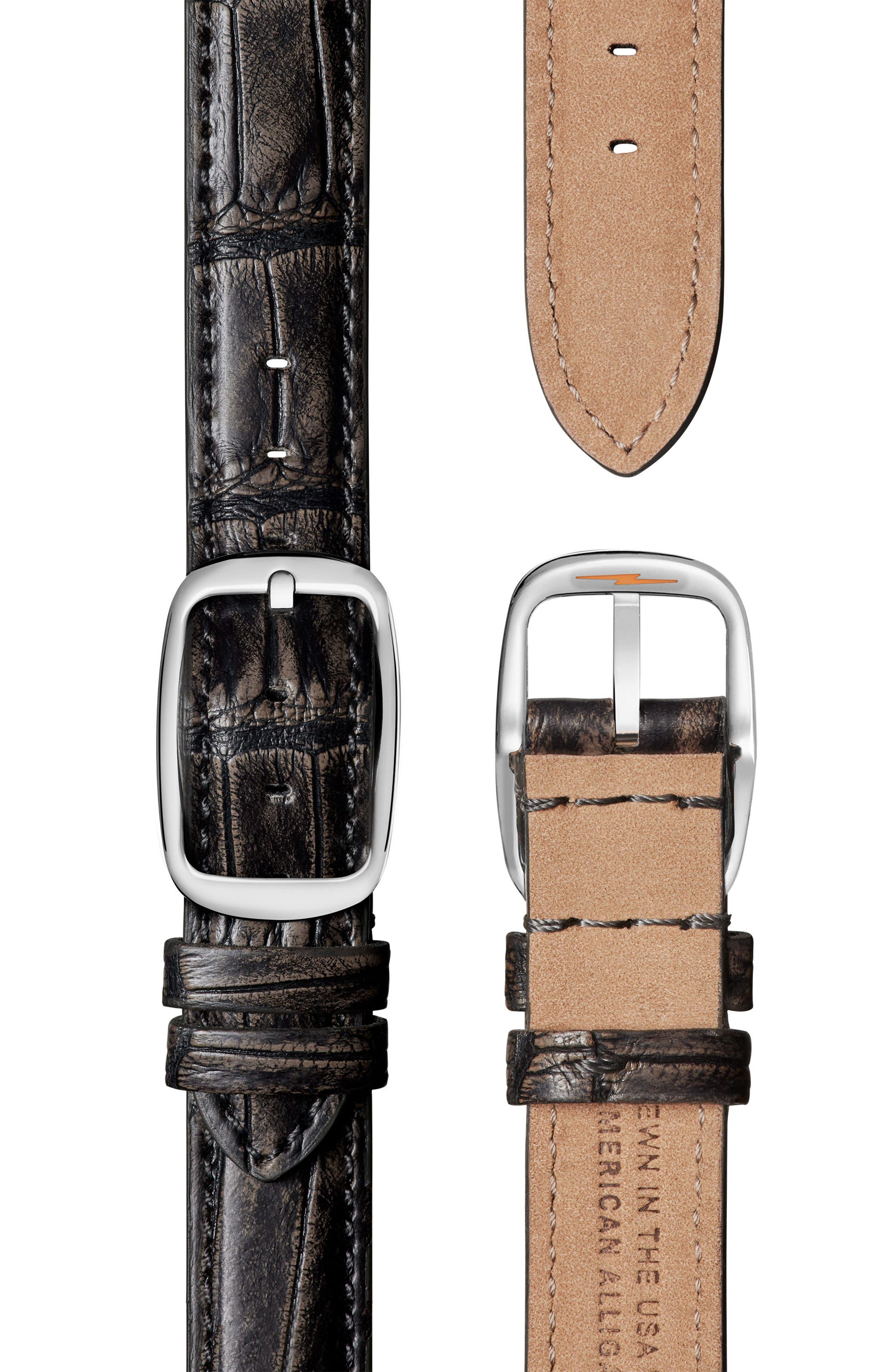 Alternate Image 2  - Shinola Cass Diamond Leather Strap Watch, 28mm x 27mm