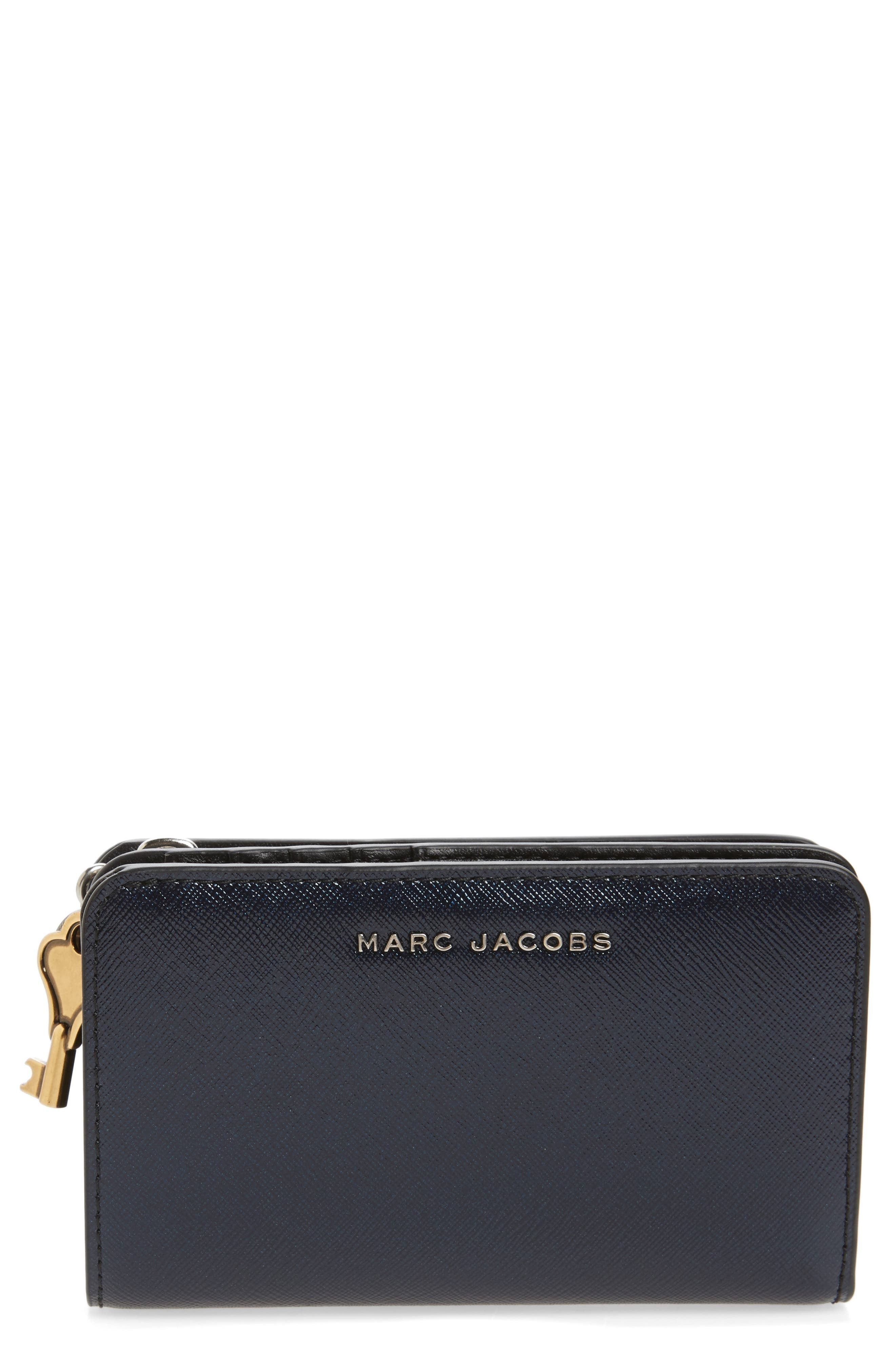Saffiano Leather Compact Wallet,                         Main,                         color, Navy