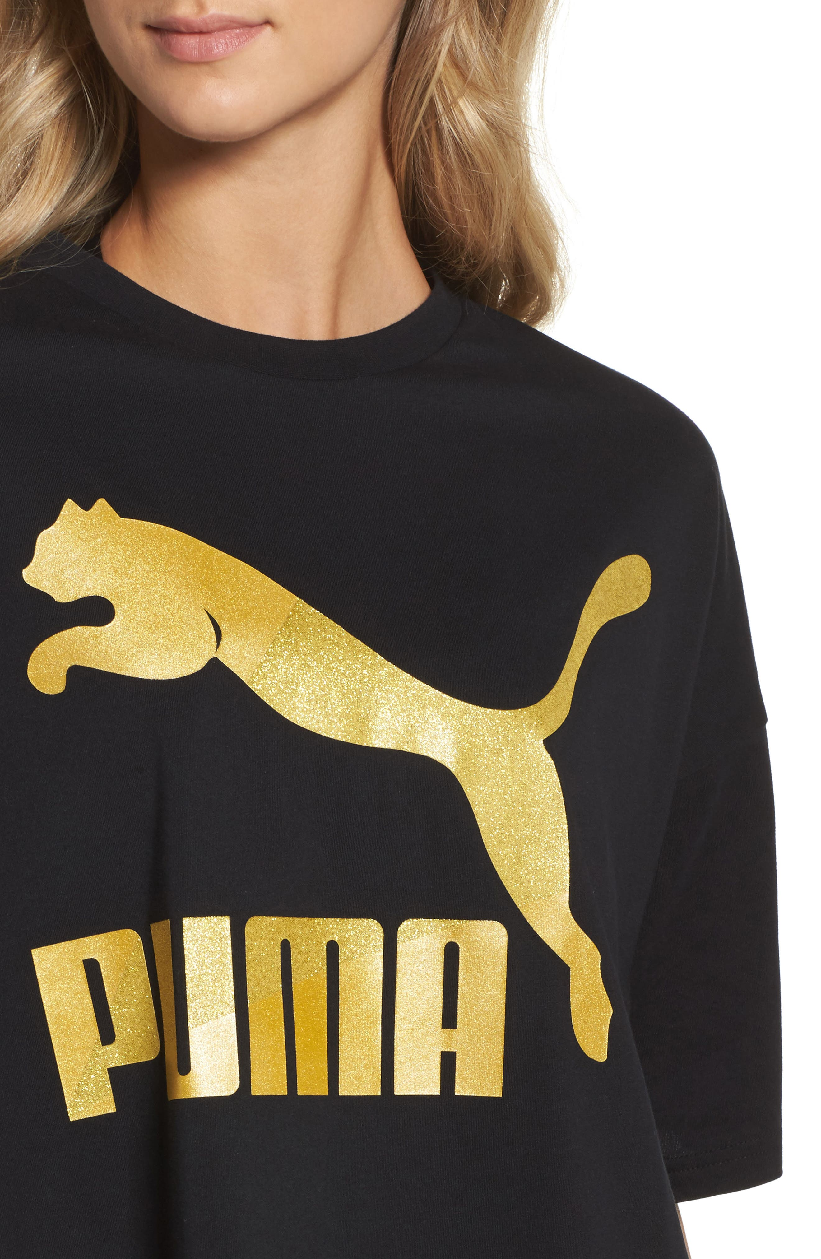 Glam Oversize Tee,                             Alternate thumbnail 4, color,                             Puma Black-Gold Glitter