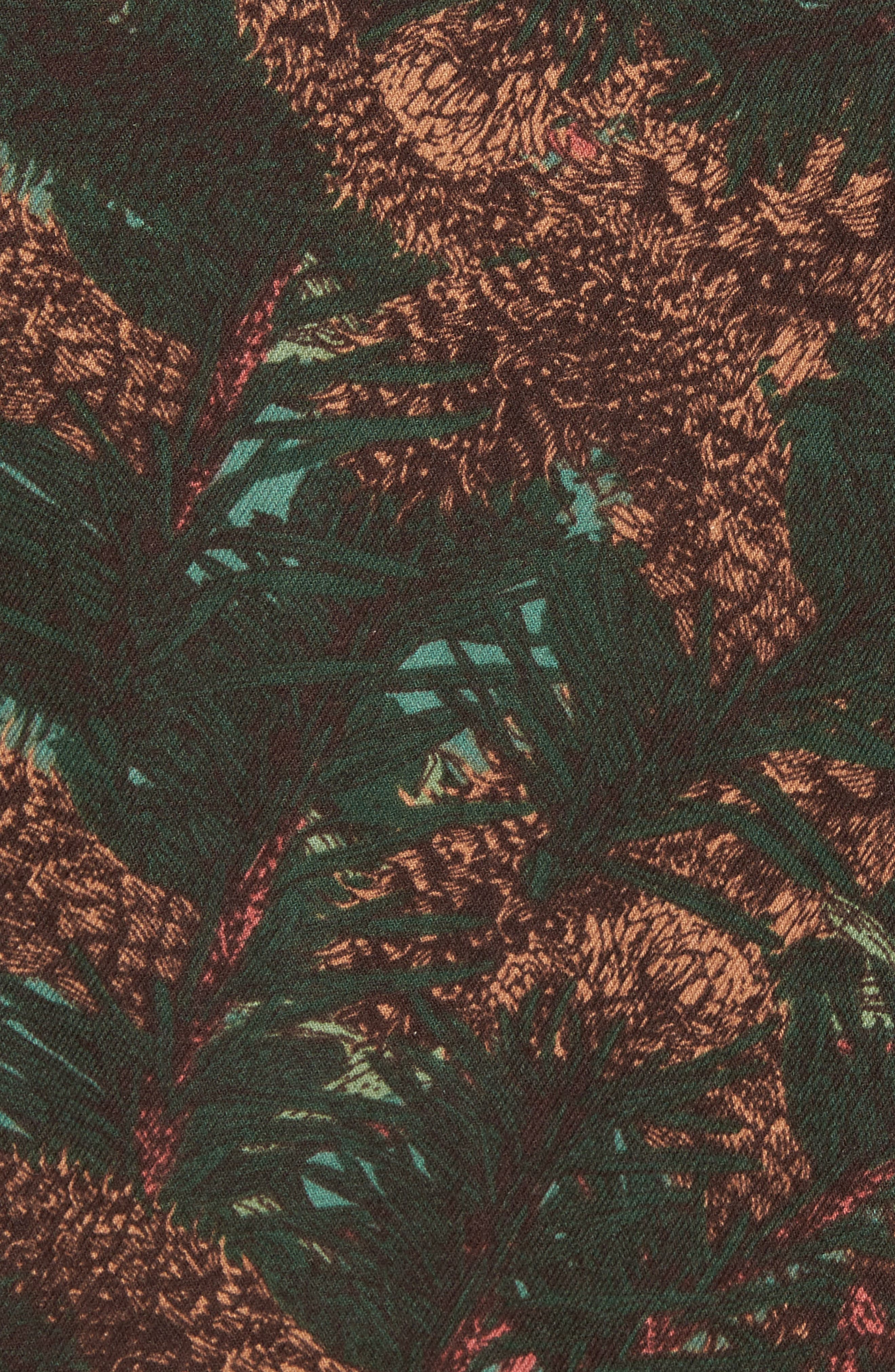 Print Flannel Shirt,                             Alternate thumbnail 5, color,                             Green Pinecone Print