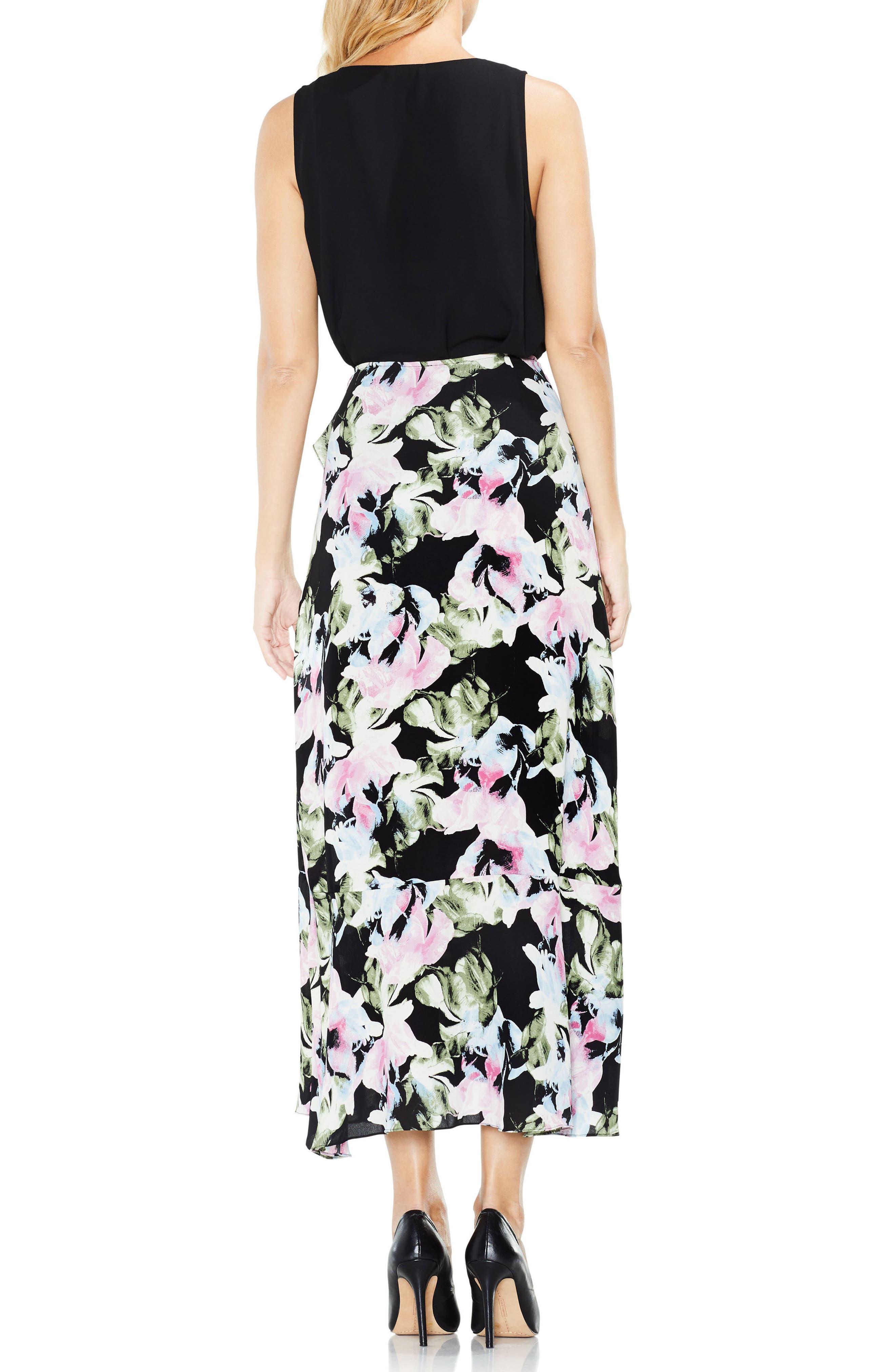 Glacier Floral Ruffle Skirt,                             Alternate thumbnail 2, color,                             Rich Black