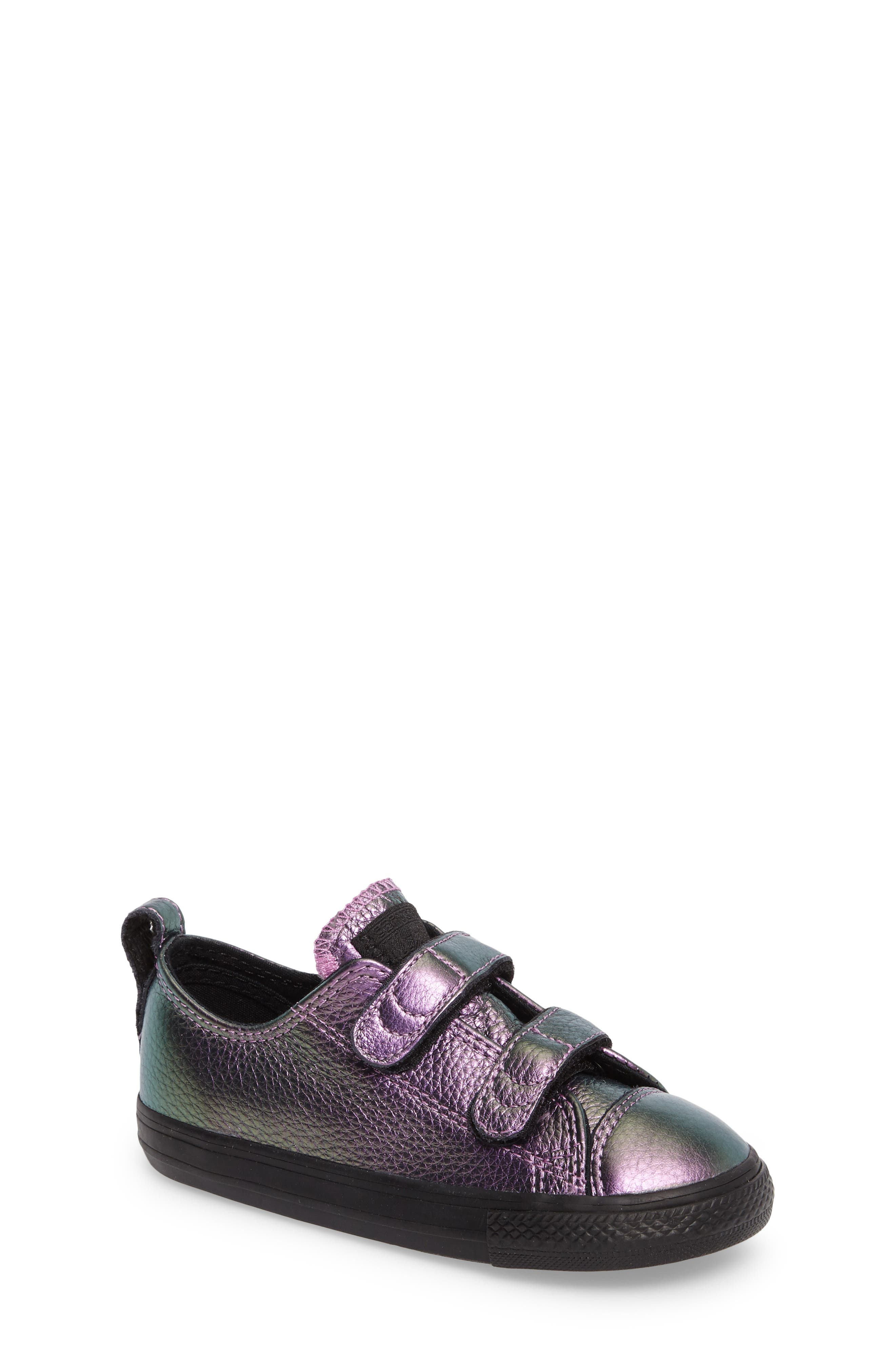 Chuck Taylor<sup>®</sup> All Star<sup>®</sup> Iridescent Leather Low Top Sneaker,                             Main thumbnail 1, color,                             Violet Leather