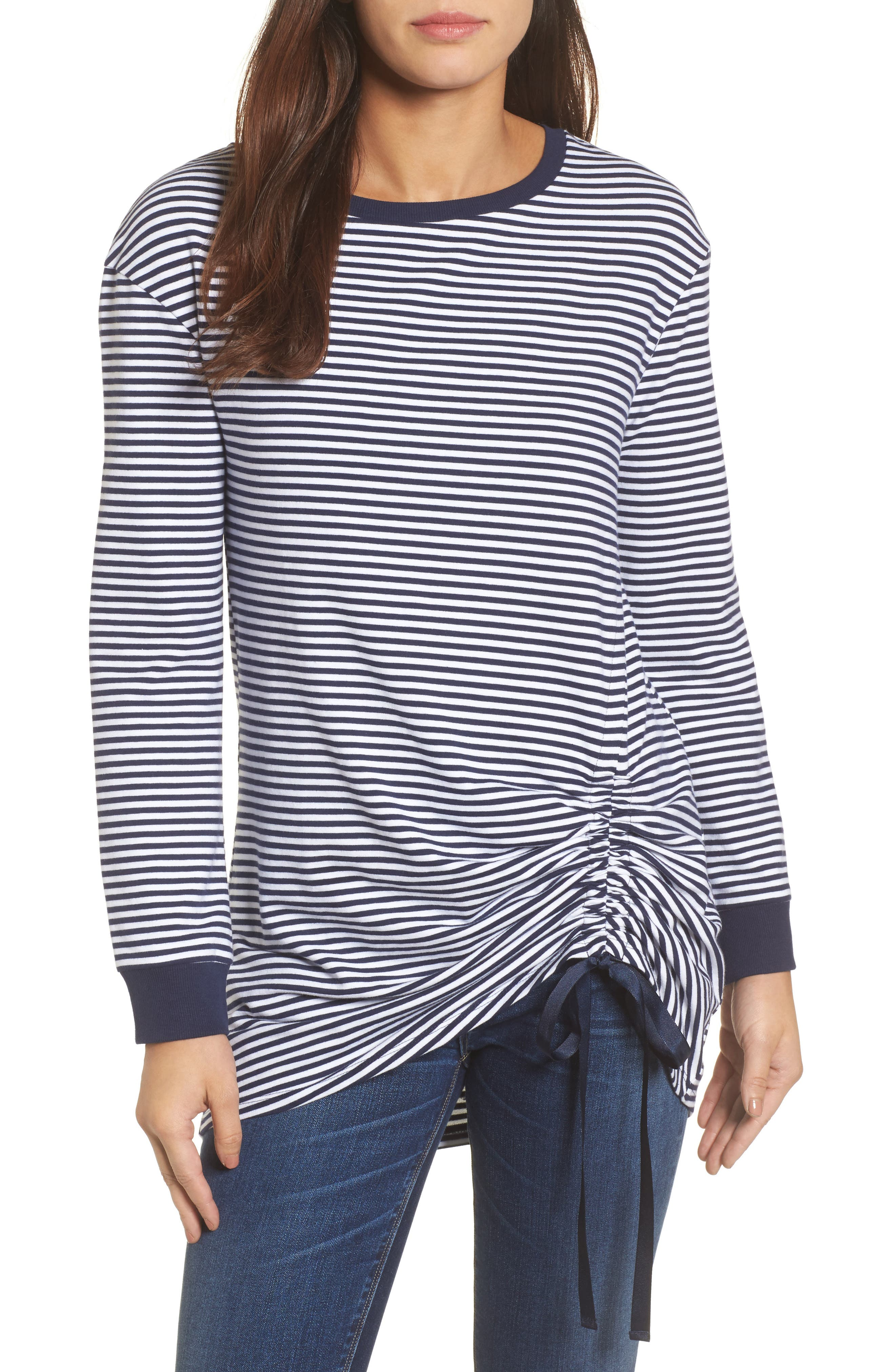 Ruched Front Tunic Sweatshirt,                         Main,                         color, Navy- White Stripe