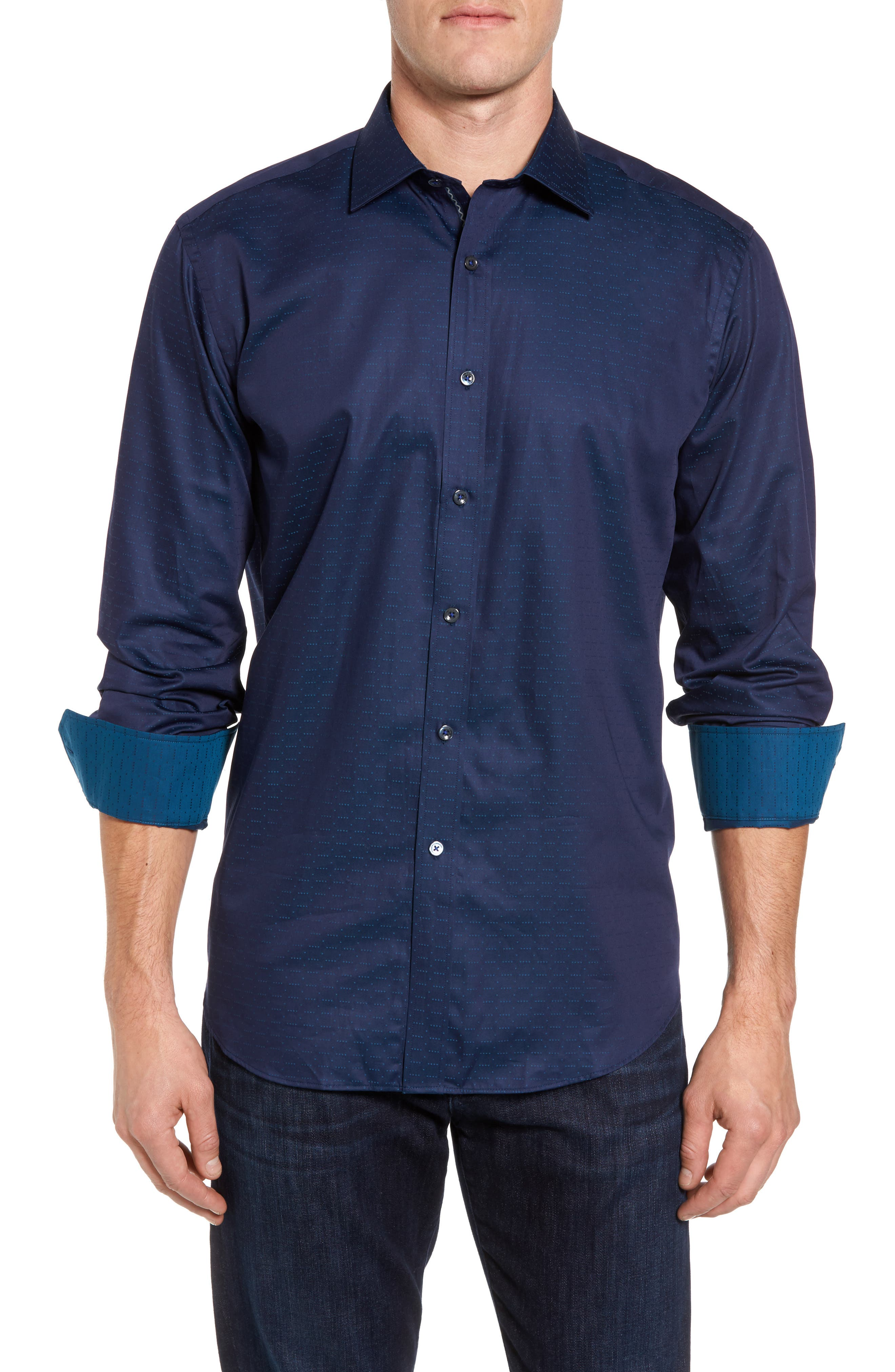 Classic Fit Square Dobby Sport Shirt,                             Main thumbnail 1, color,                             Midnight