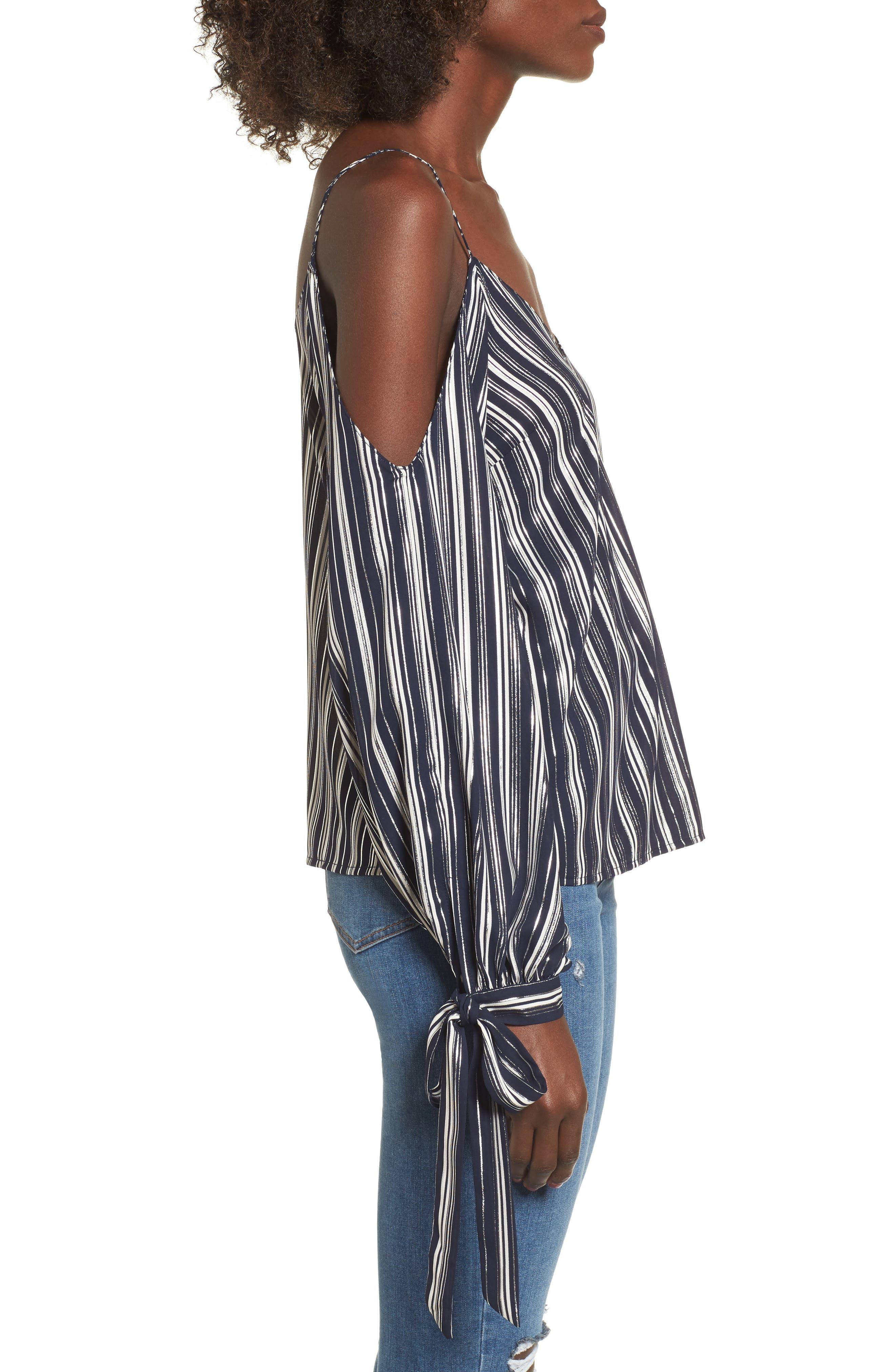 Alternate Image 3  - Metallic Stripe Cold Shoulder Top
