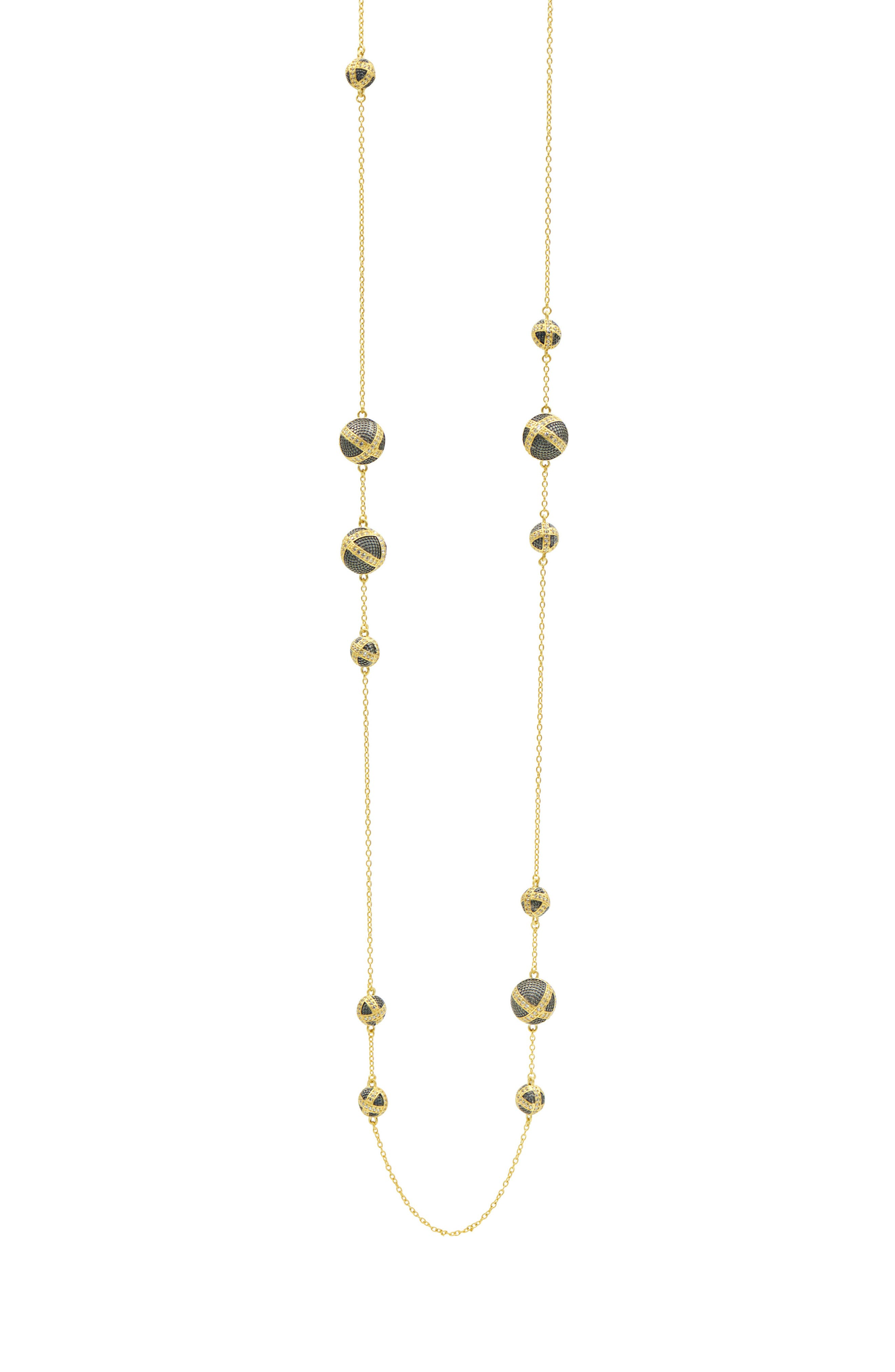 Textured Ornaments Station Necklace,                         Main,                         color, Black/ Gold