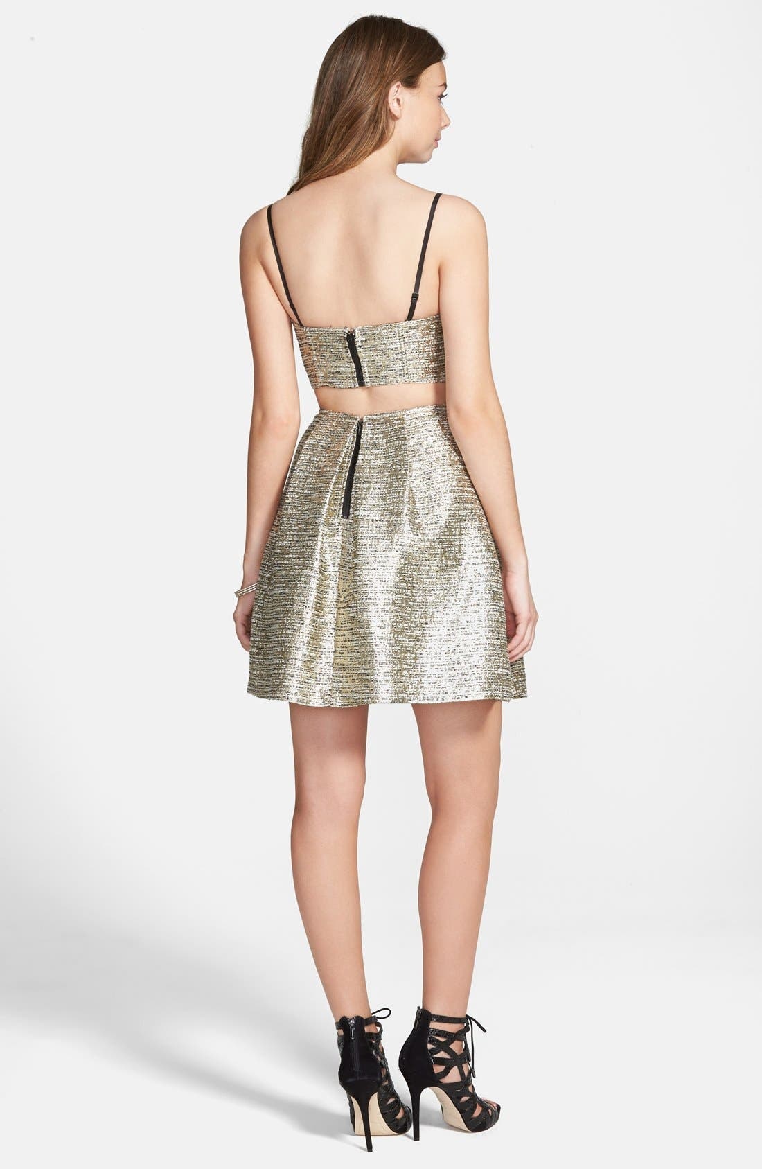 Alternate Image 2  - a. drea 'Maddie' Textured Metallic Two-Piece Dress (Juniors)
