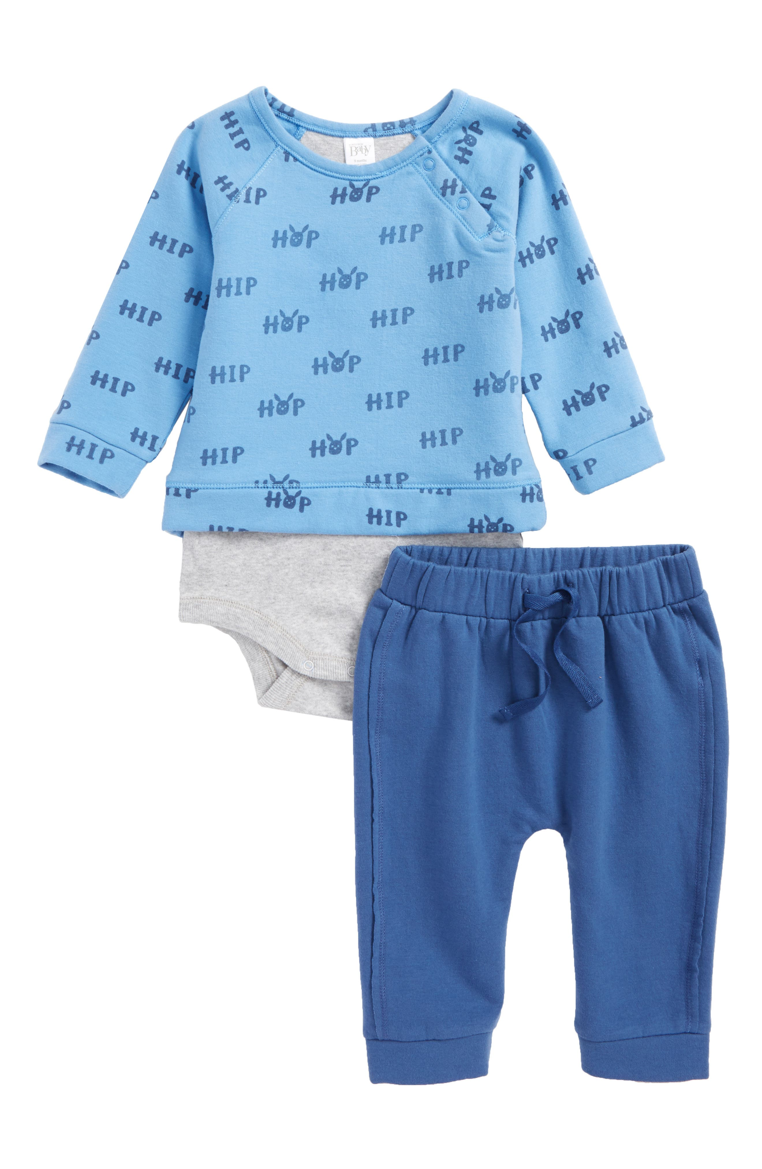 Bodysuit & Sweatpants Set,                             Main thumbnail 1, color,                             Blue Lake Hop