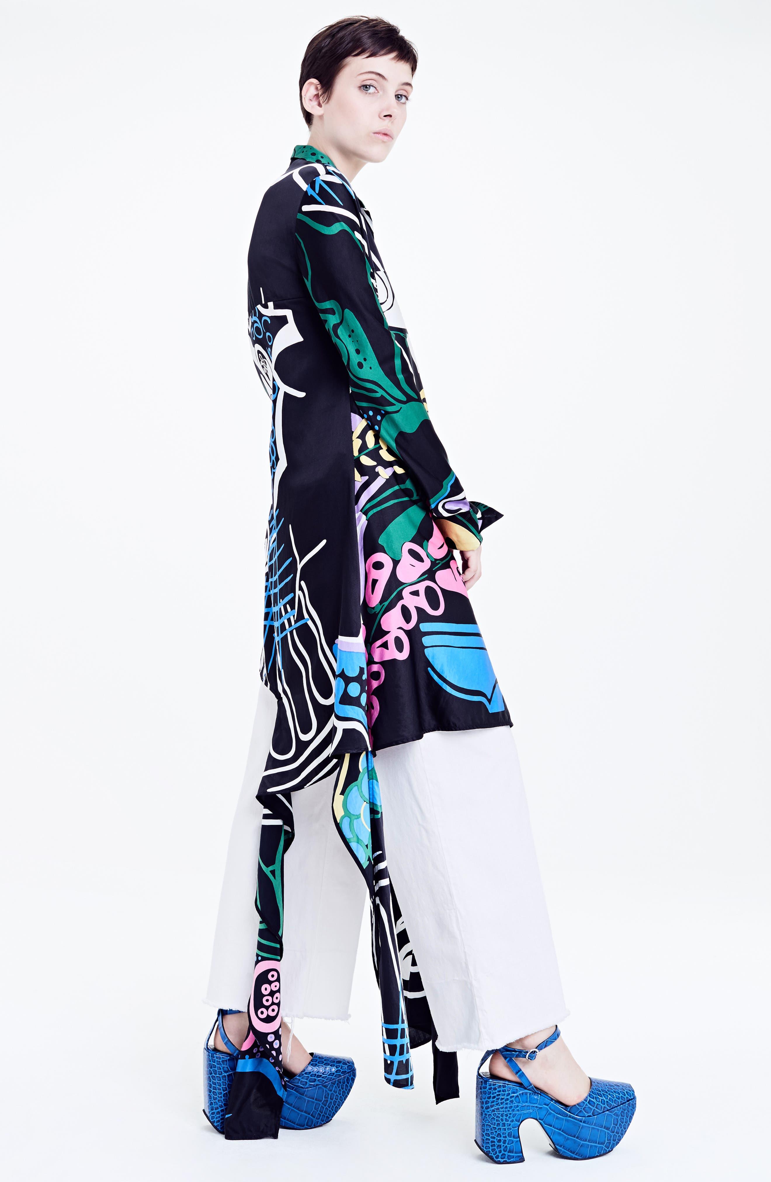 Foxglove Print Dress with Ribbon Detail,                             Alternate thumbnail 7, color,                             Black Foxglove Print