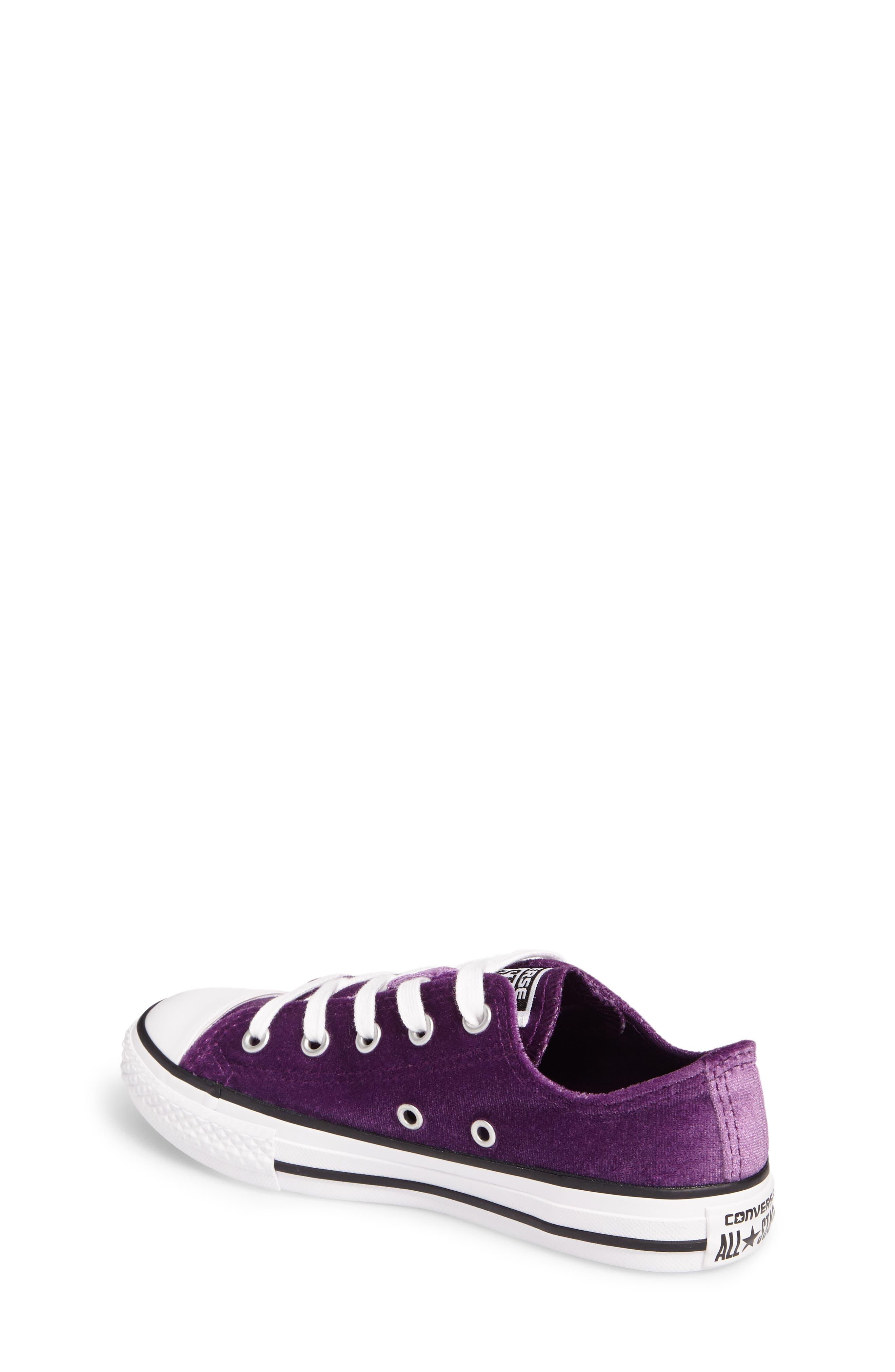 Chuck Taylor<sup>®</sup> All Star<sup>®</sup> Velvet OX Low Top Sneaker,                             Alternate thumbnail 2, color,                             Night Purple Velvet