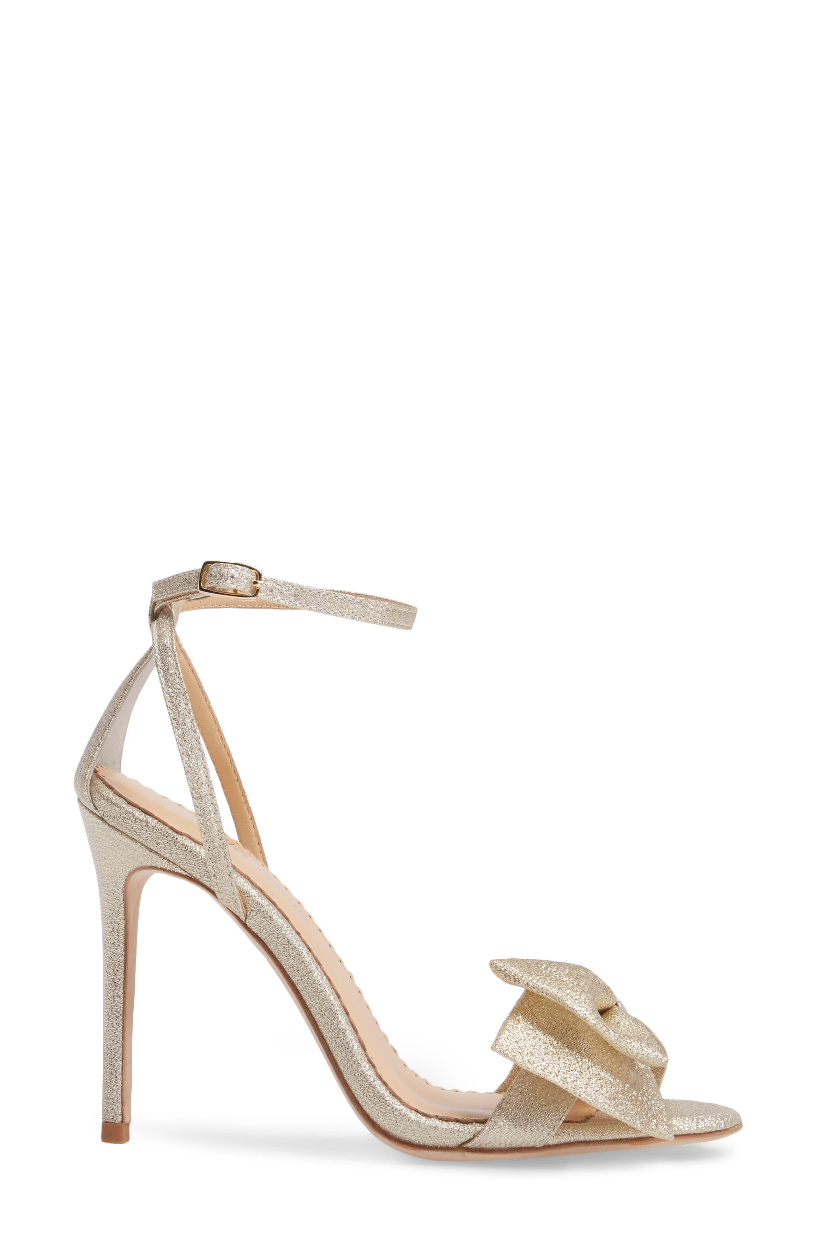 Aubrey Bow Ankle Strap Sandal,                             Alternate thumbnail 3, color,                             Gold