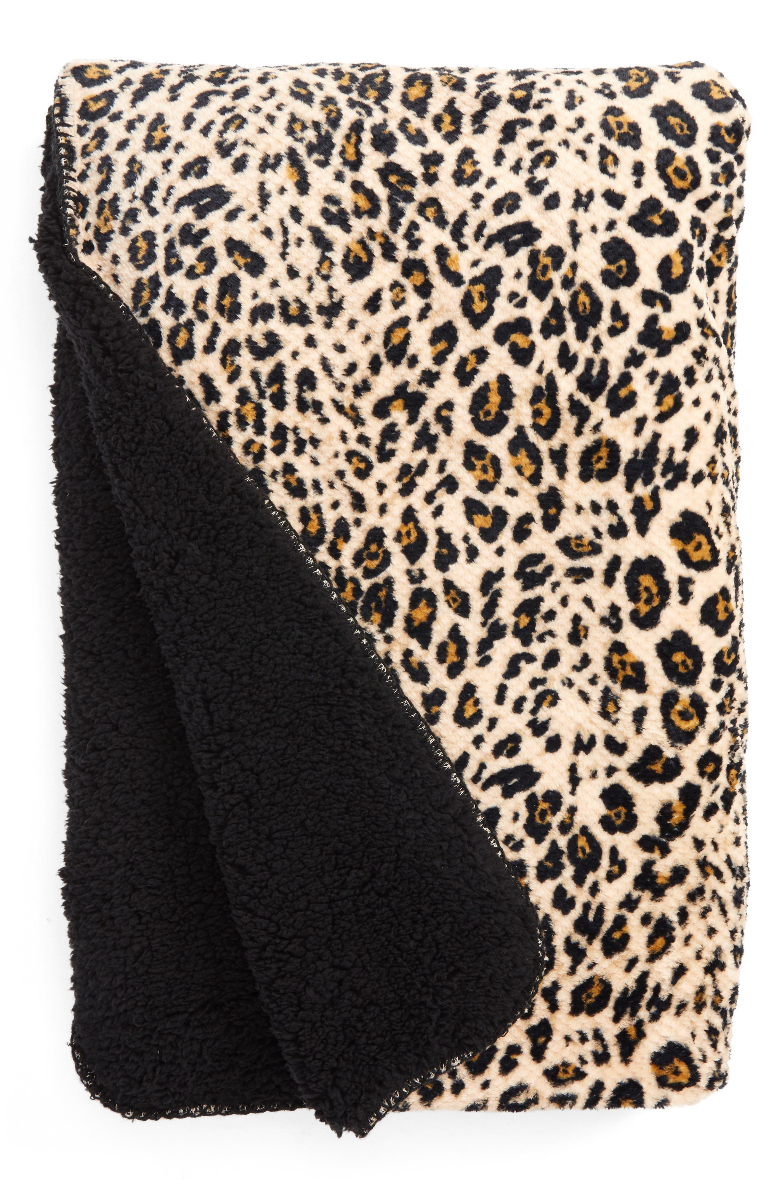 Leopard Print Faux Shearling Blanket,                         Main,                         color, Tan