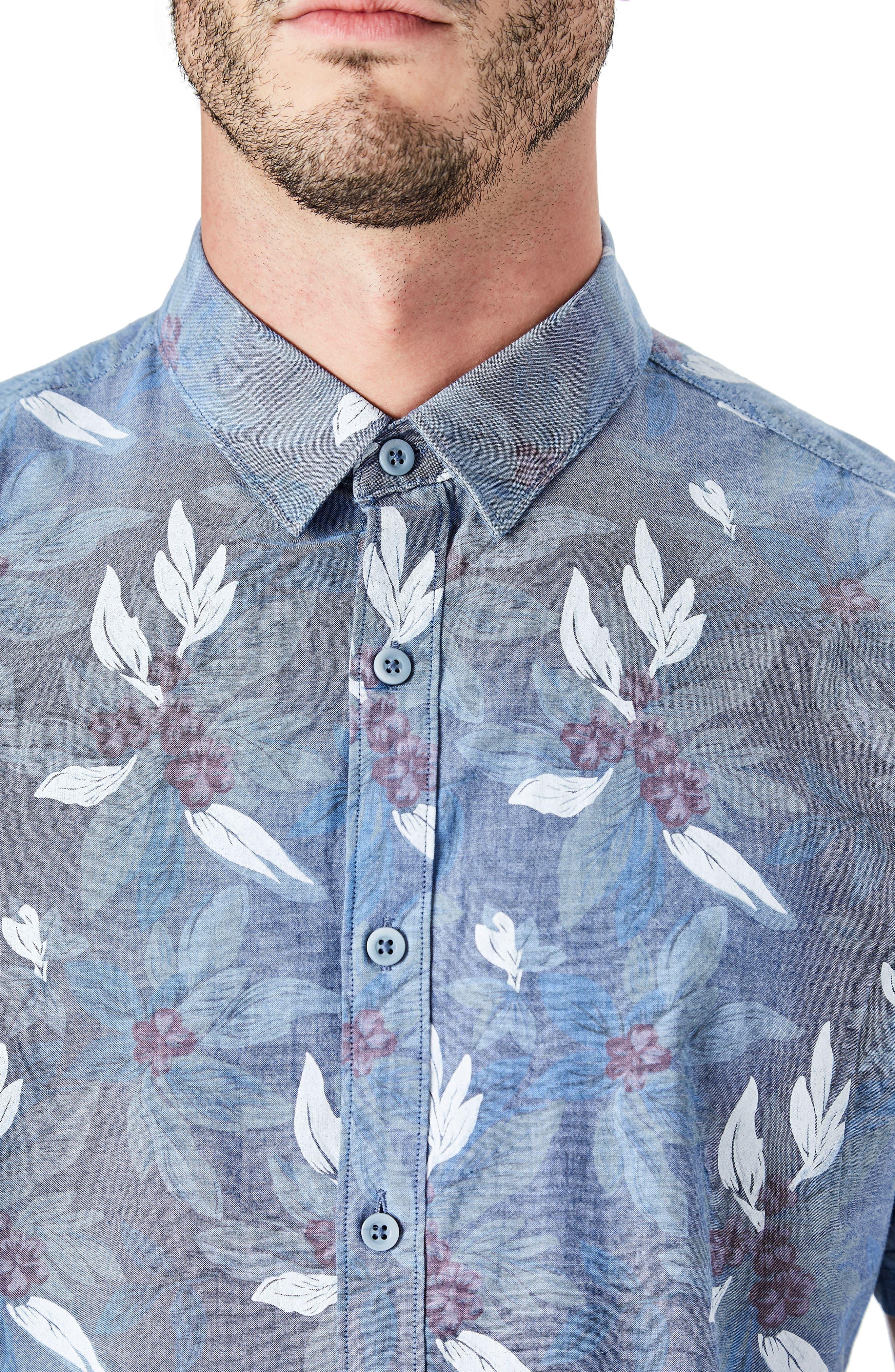 Woven Sport Shirt,                             Alternate thumbnail 3, color,                             Slate Blue