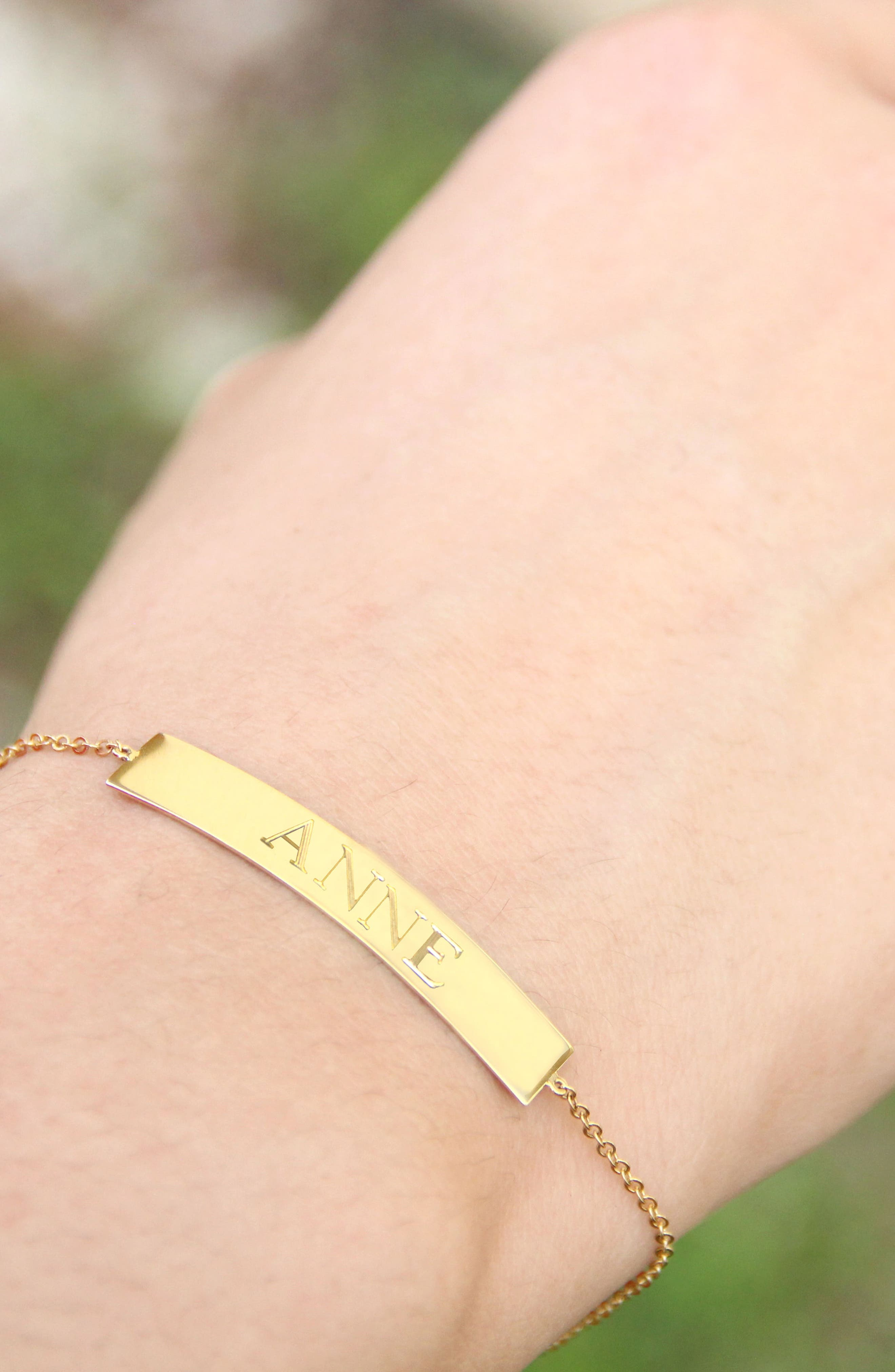 Jane Basch Personalized ID Bracelet,                             Alternate thumbnail 2, color,                             14K Yellow Gold