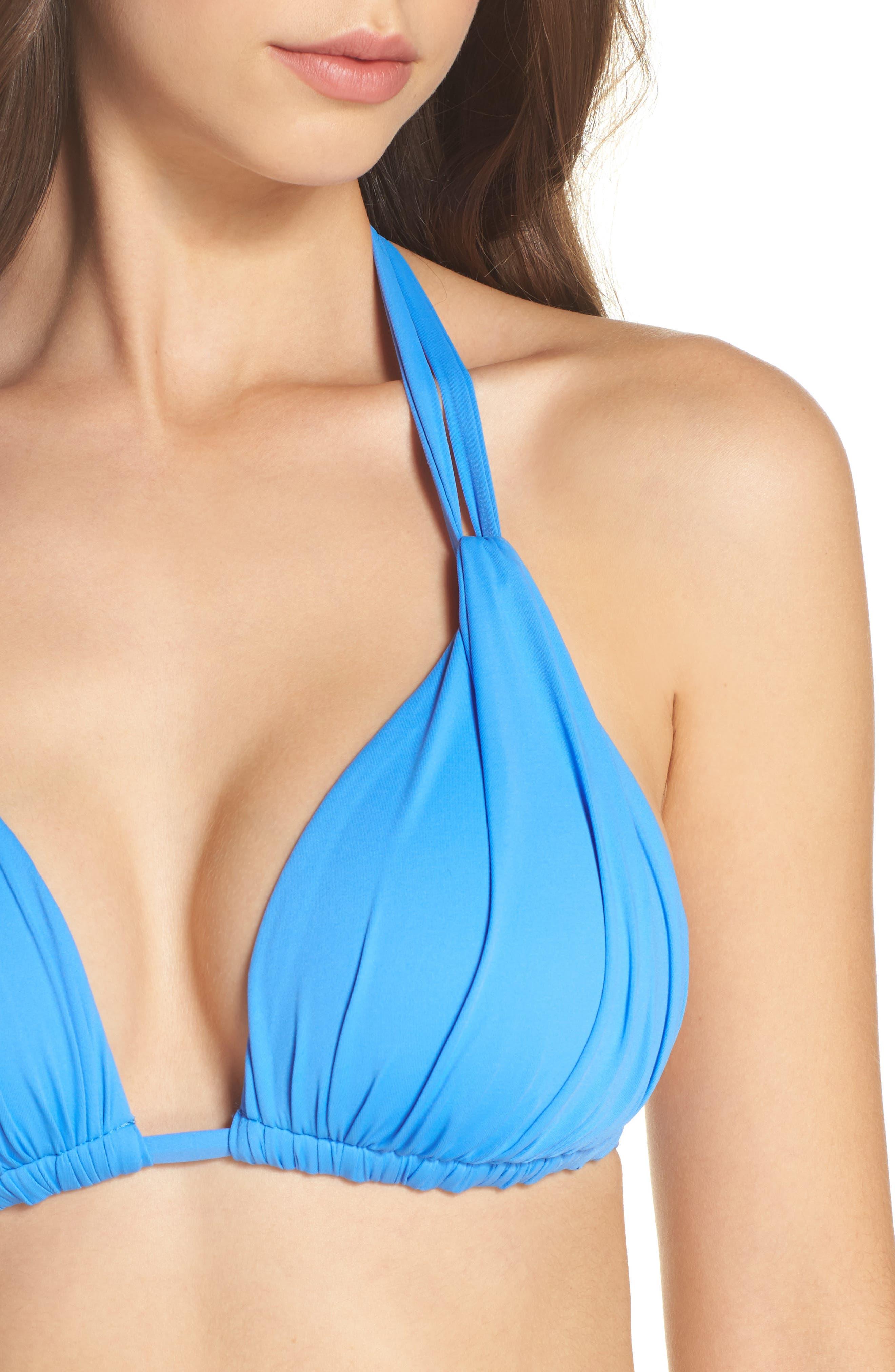 Island Blanca Halter Bikini Top,                             Alternate thumbnail 8, color,                             Blue Suede