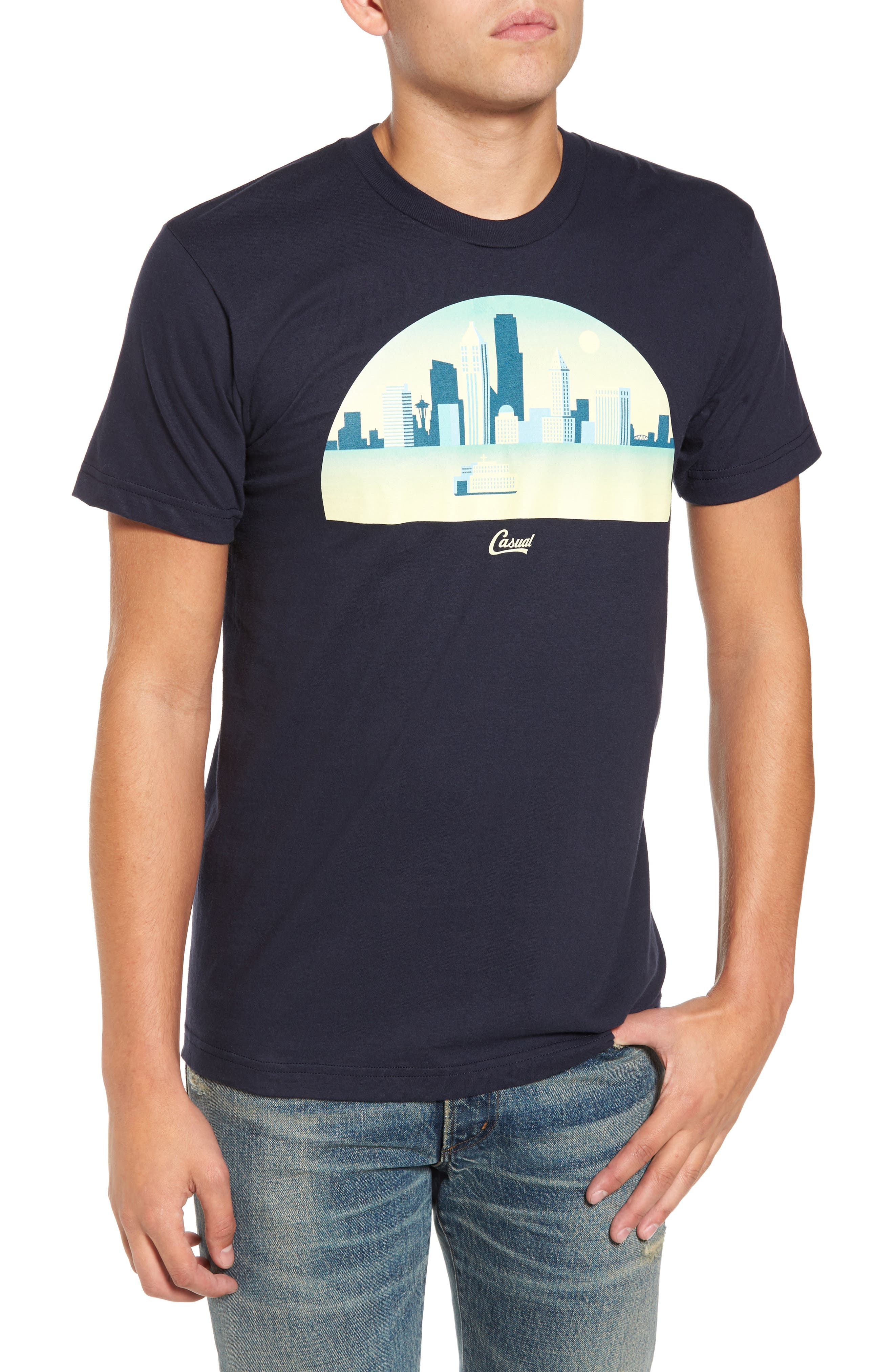 Skyline Arch 3D Graphic T-Shirt,                         Main,                         color, Navy