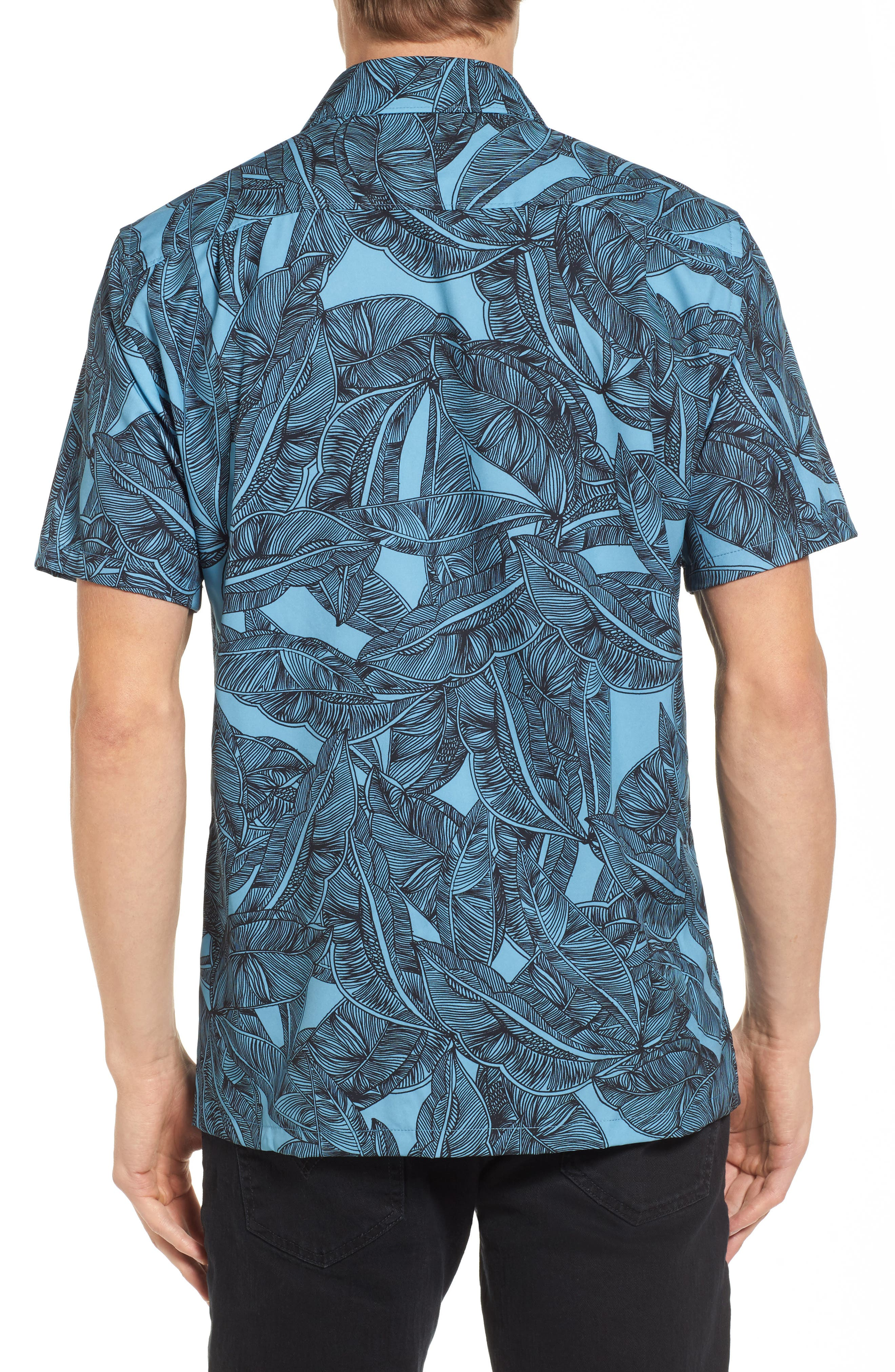 Print Woven Shirt,                             Alternate thumbnail 2, color,                             Cerulean