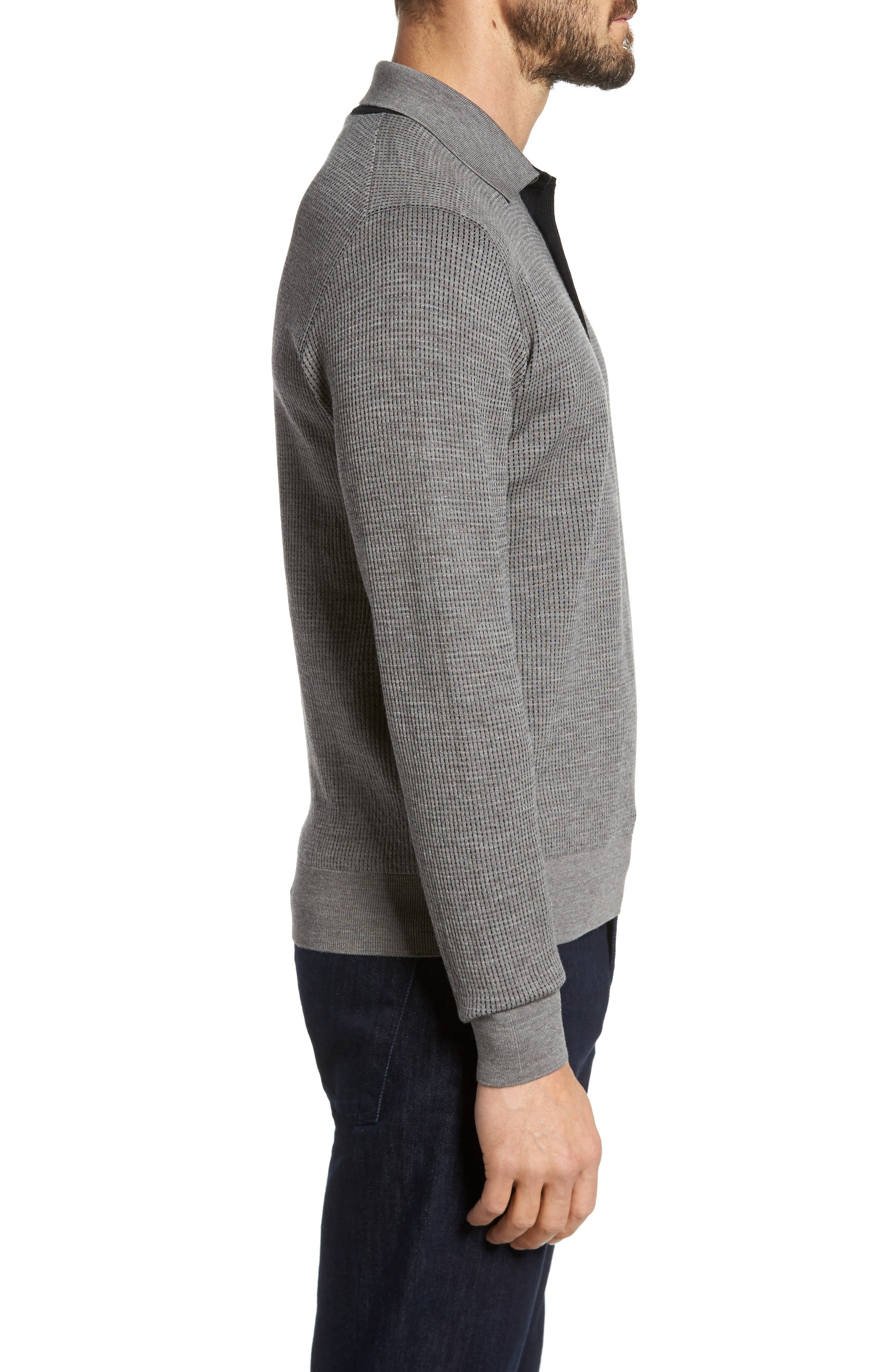 Grey Needlepoint Wool & Silk Polo Sweater,                             Alternate thumbnail 3, color,                             Grey