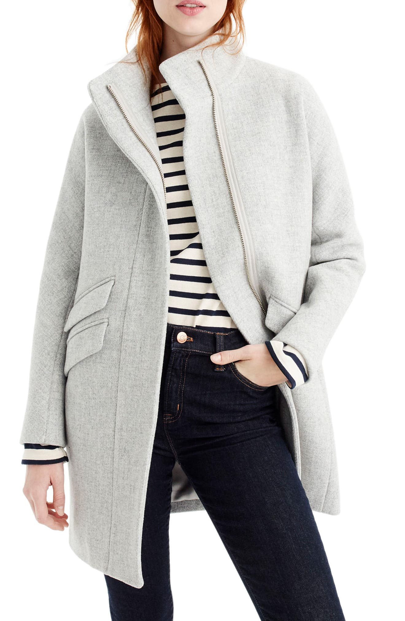Alternate Image 1 Selected - J.Crew Stadium Cloth Cocoon Coat (Regular & Petite)