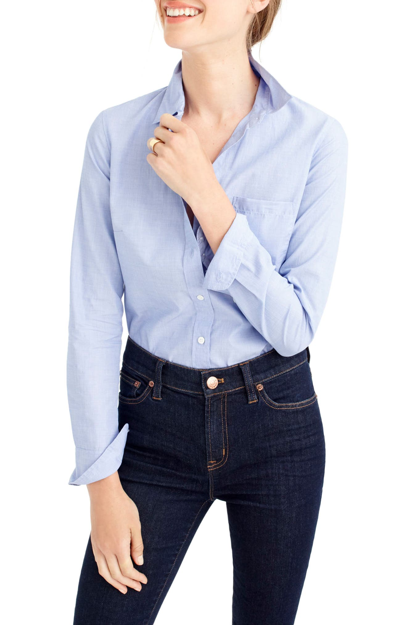 End on End Boy Shirt,                         Main,                         color, French Blue