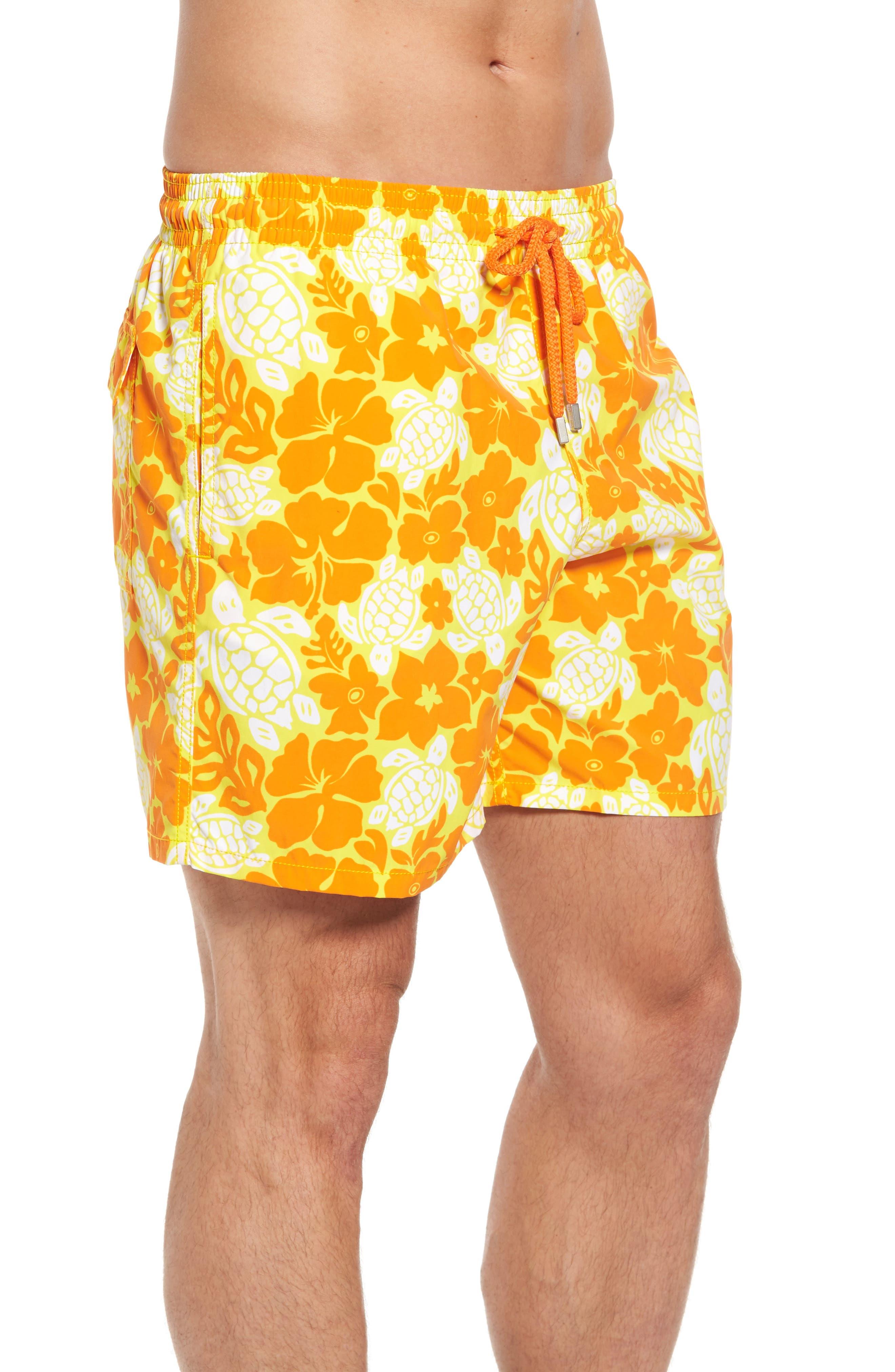 Moorea Hawaiian Turtles Swim Shorts,                             Alternate thumbnail 3, color,                             Lemon
