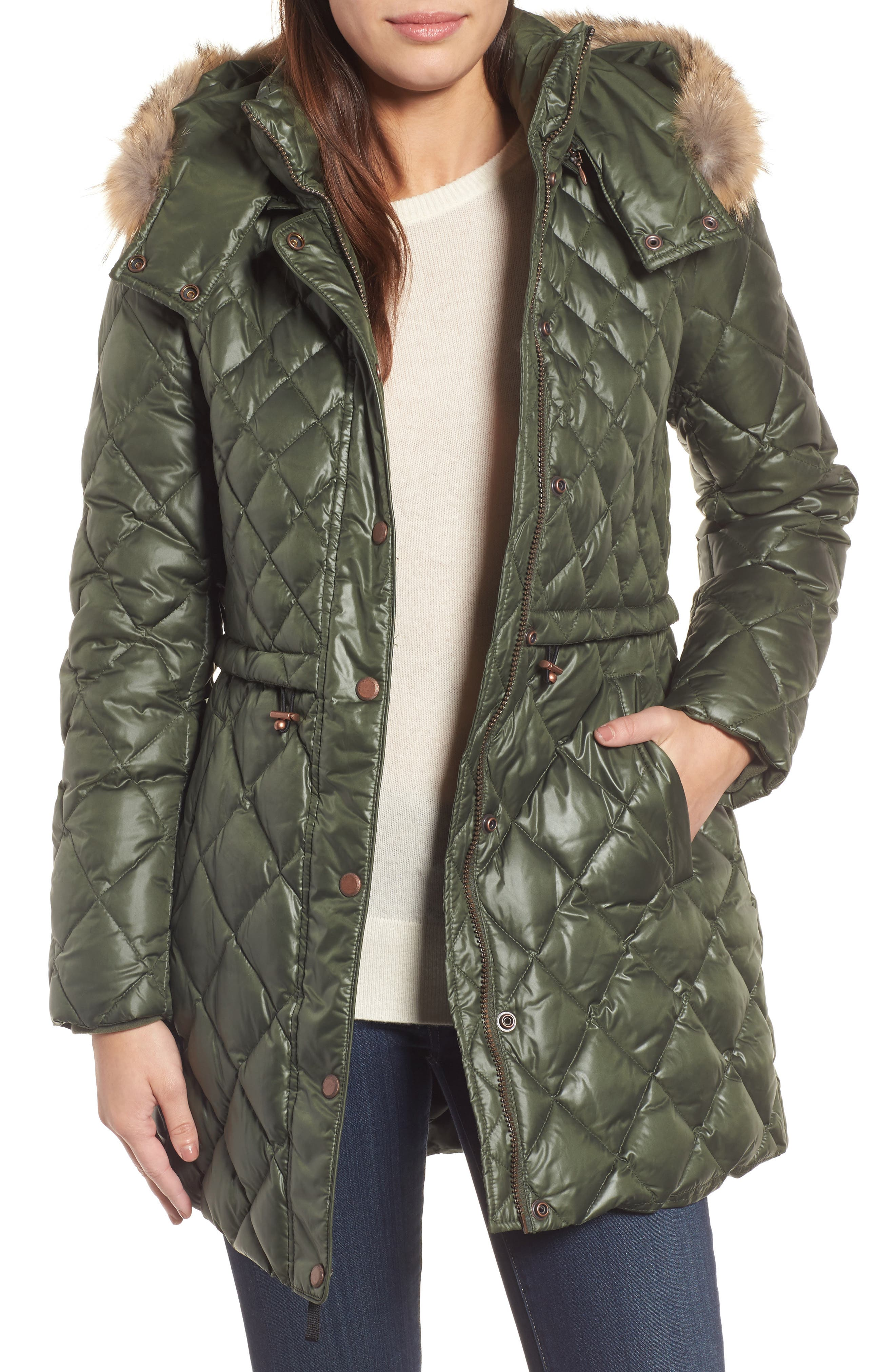 Quilted Anorak with Genuine Coyote Fur,                         Main,                         color, Olive