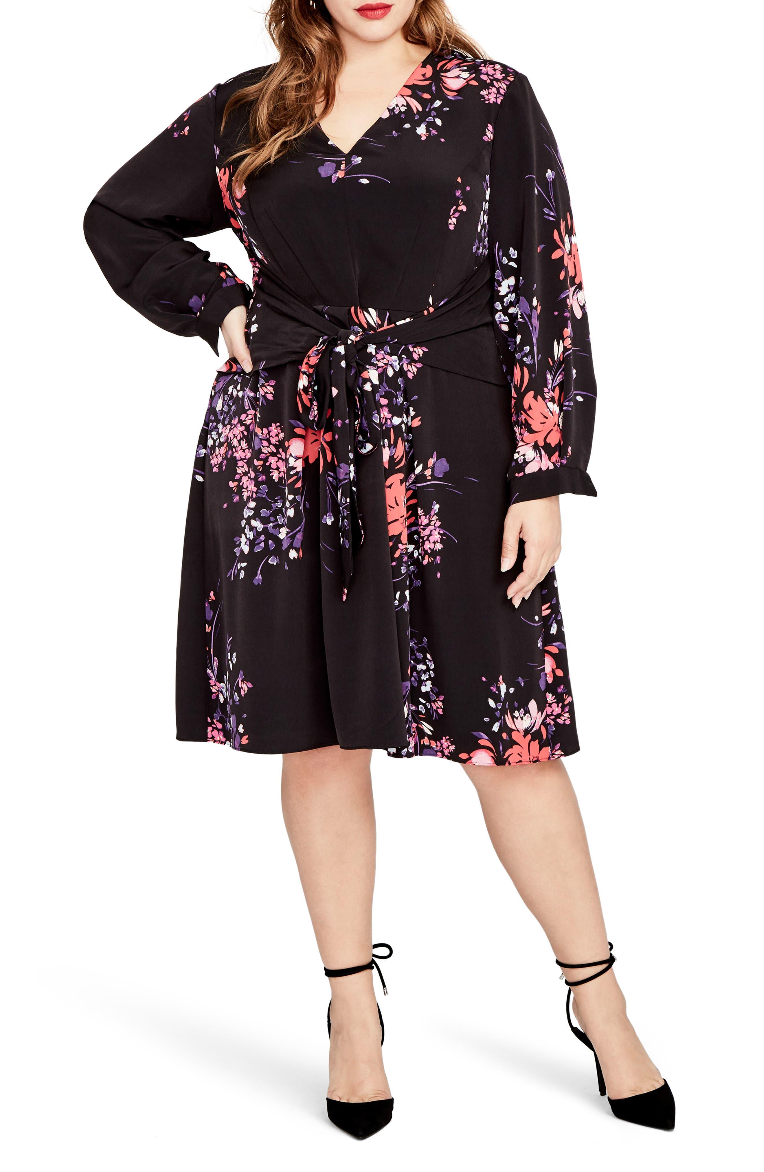 Tie Front Floral Dress,                         Main,                         color, Black Combo