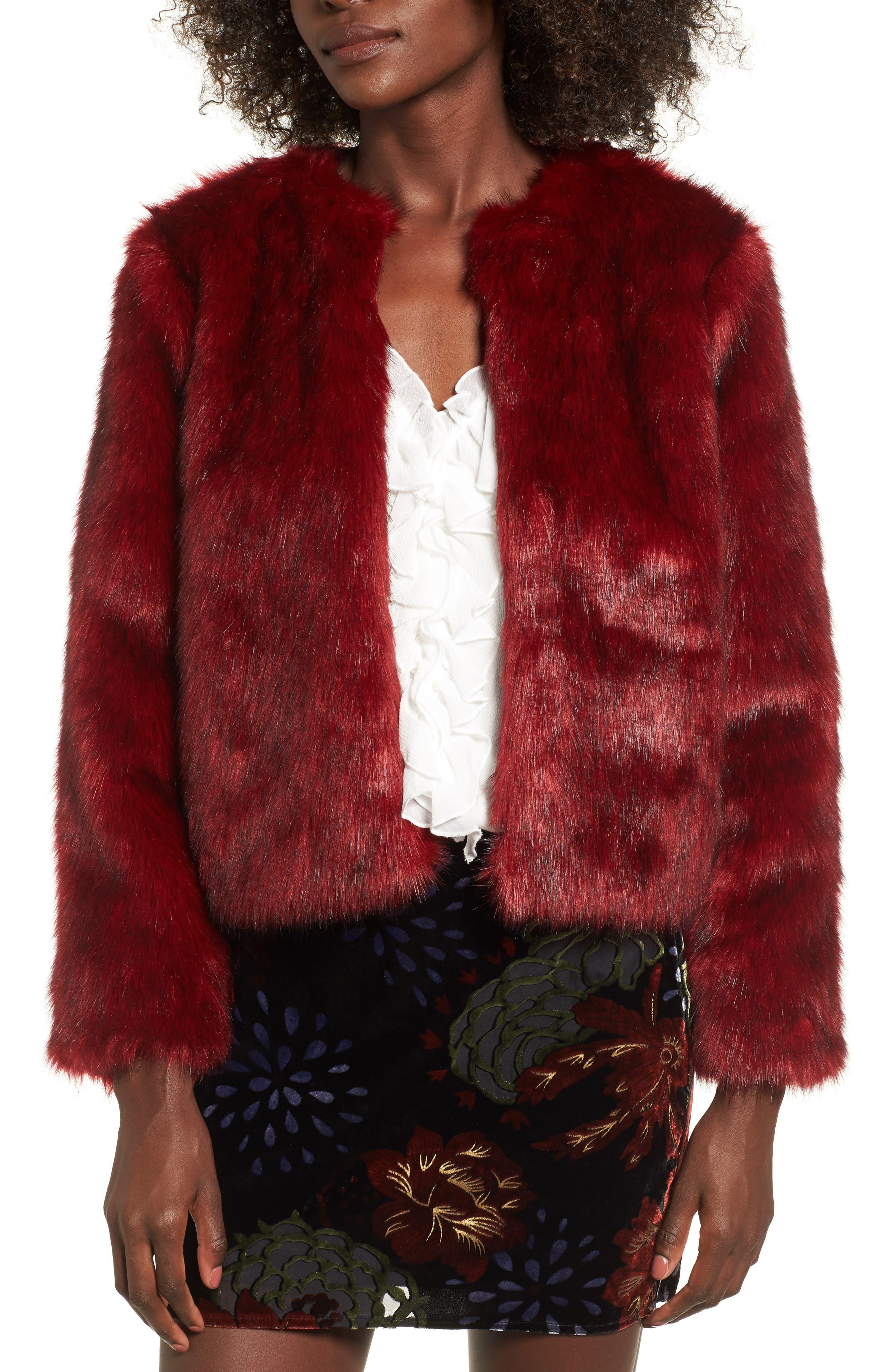 Faux Fur Jacket,                             Main thumbnail 1, color,                             Rouge Mink