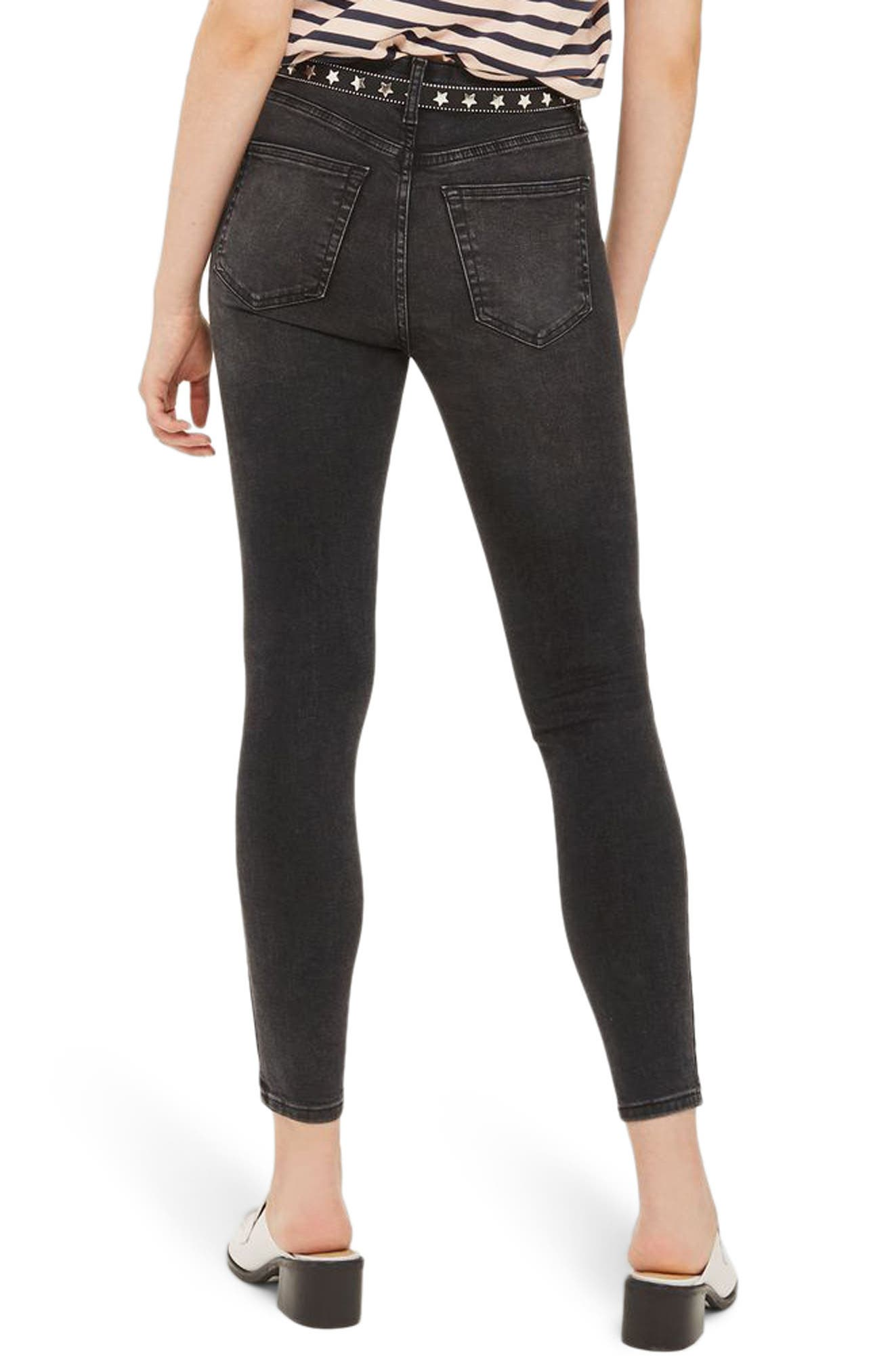 Jamie High Waist Ankle Skinny Jeans,                             Alternate thumbnail 2, color,                             Washed Black