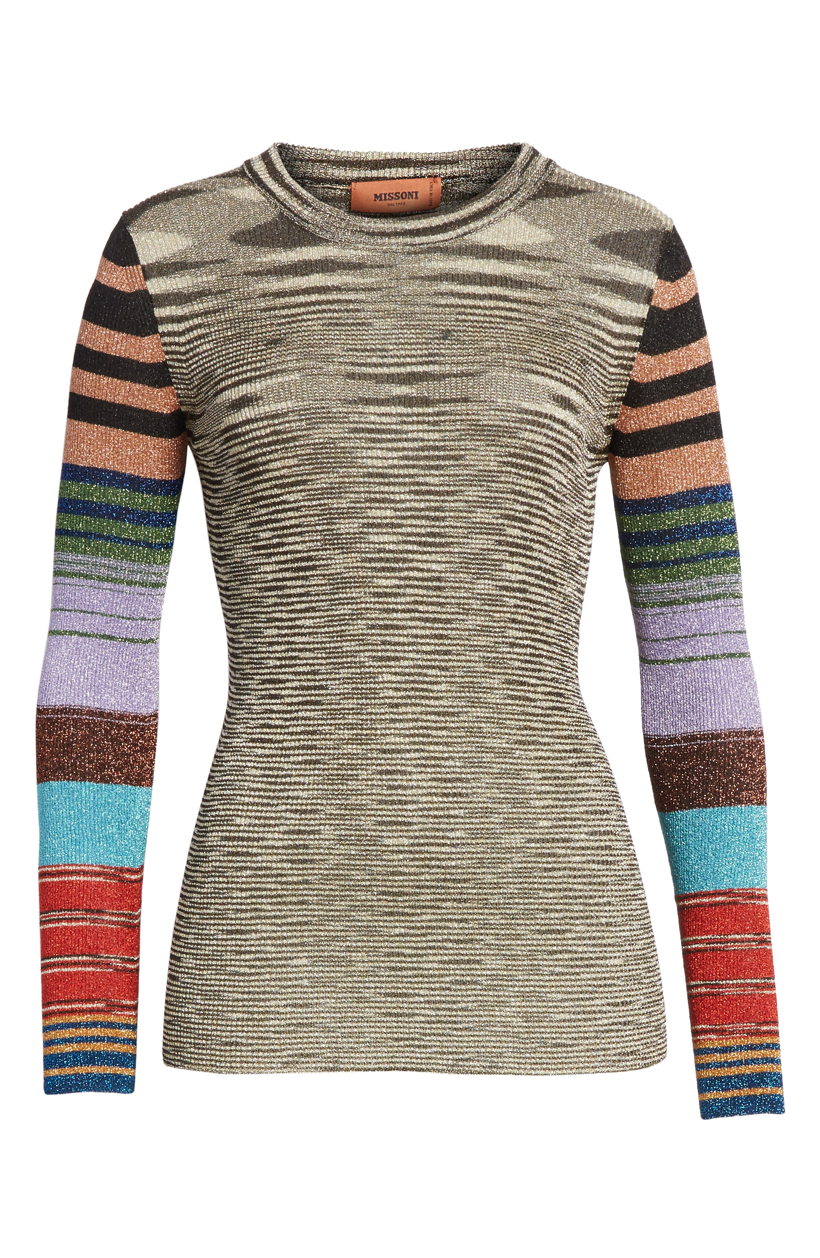 Metallic Space Dye Knit Sweater,                             Alternate thumbnail 6, color,                             Multi