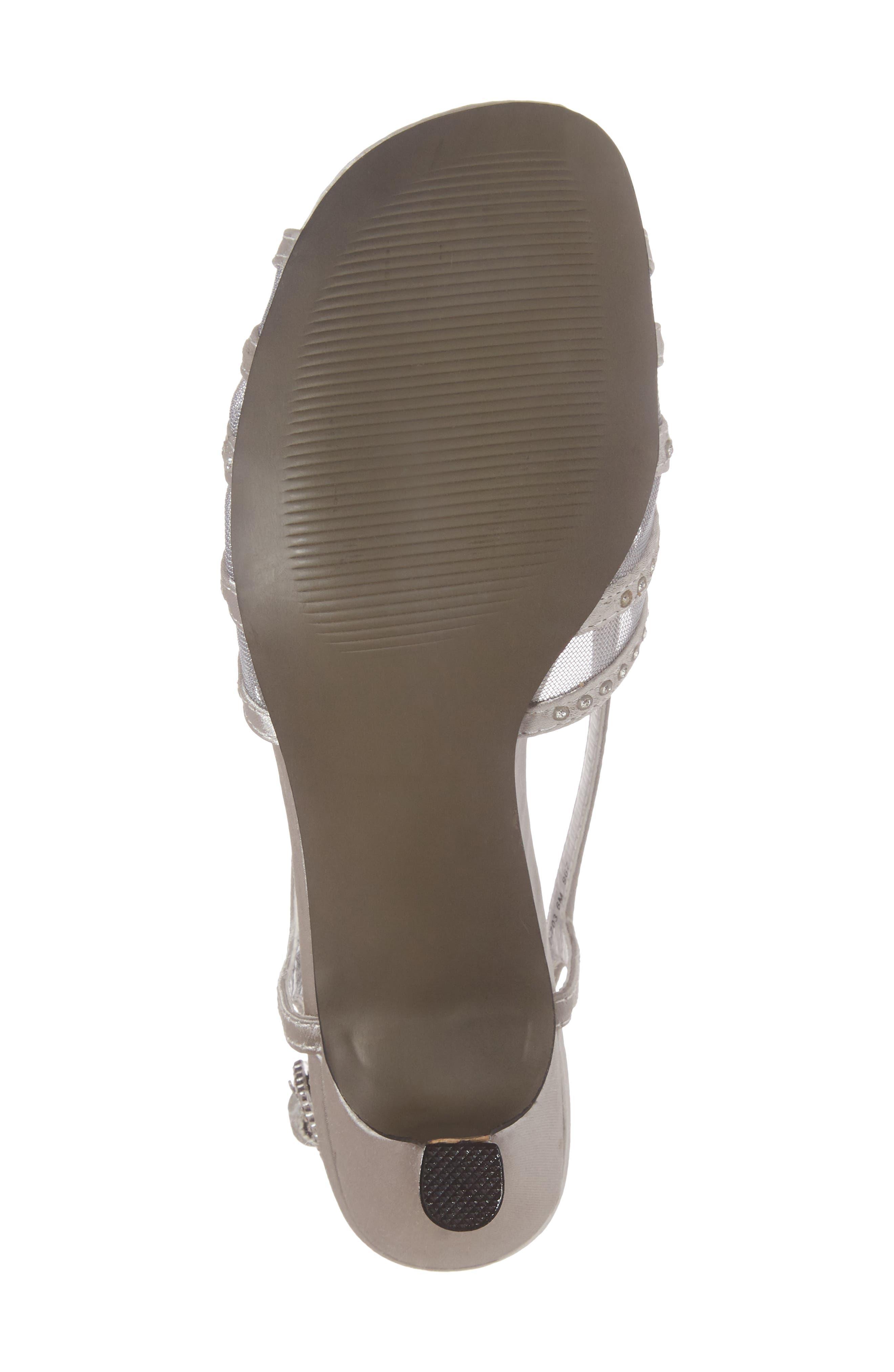 Sizzle Slingback Sandal,                             Alternate thumbnail 6, color,                             Silver Satin