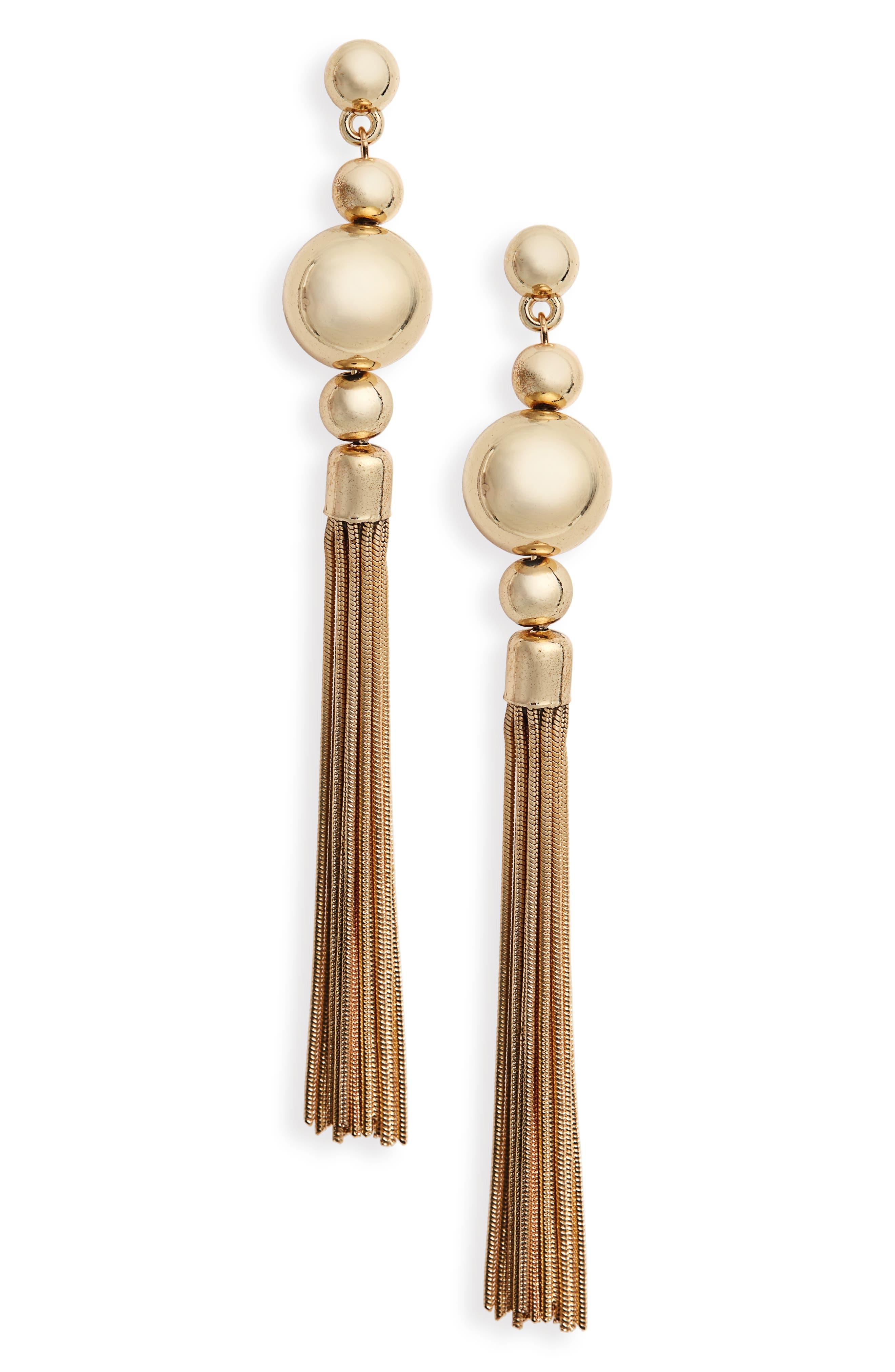 Main Image - BP. Ball Snake Chain Tassel Earrings
