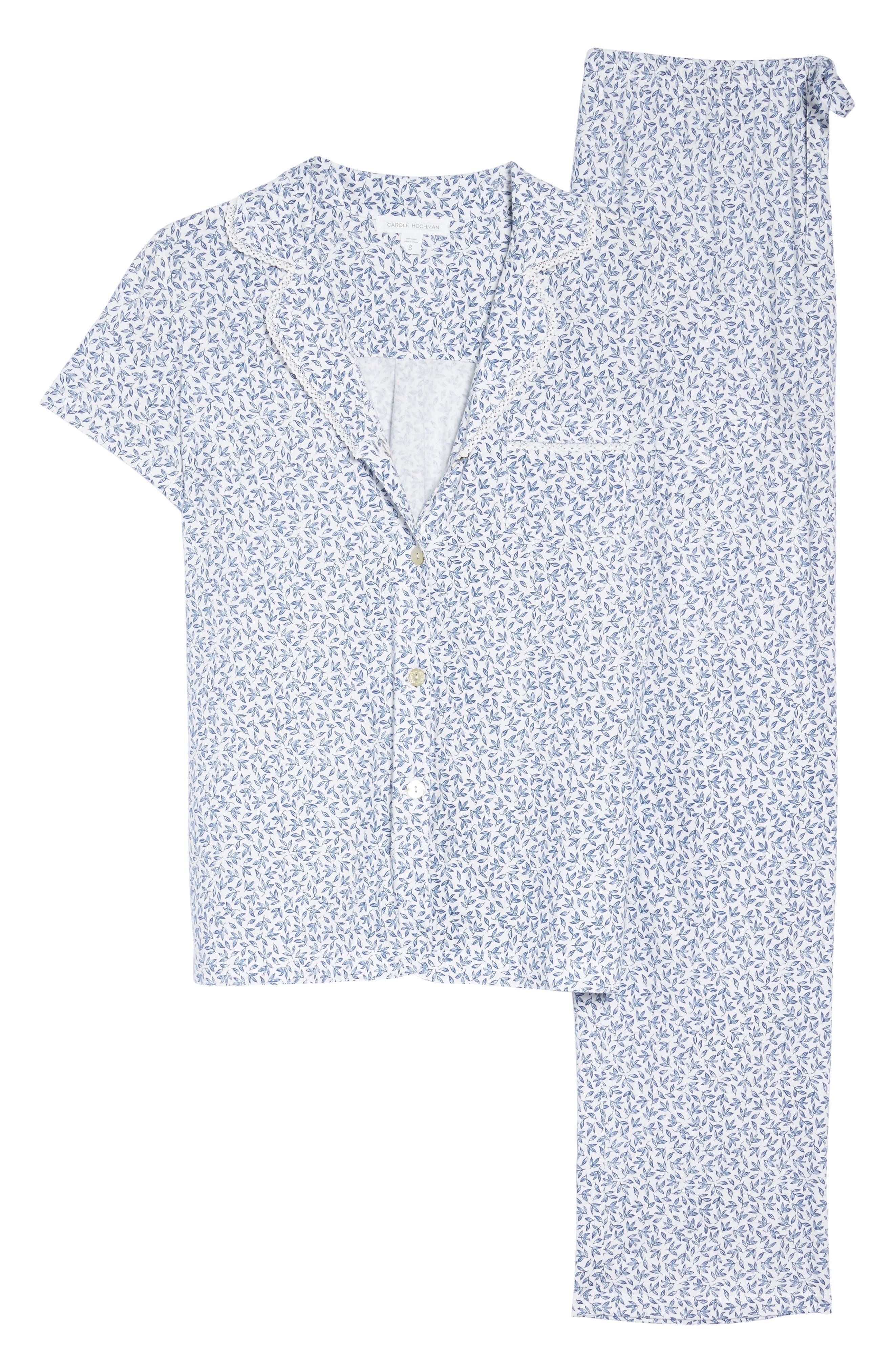 Print Jersey Pajamas,                             Alternate thumbnail 6, color,                             Leaf