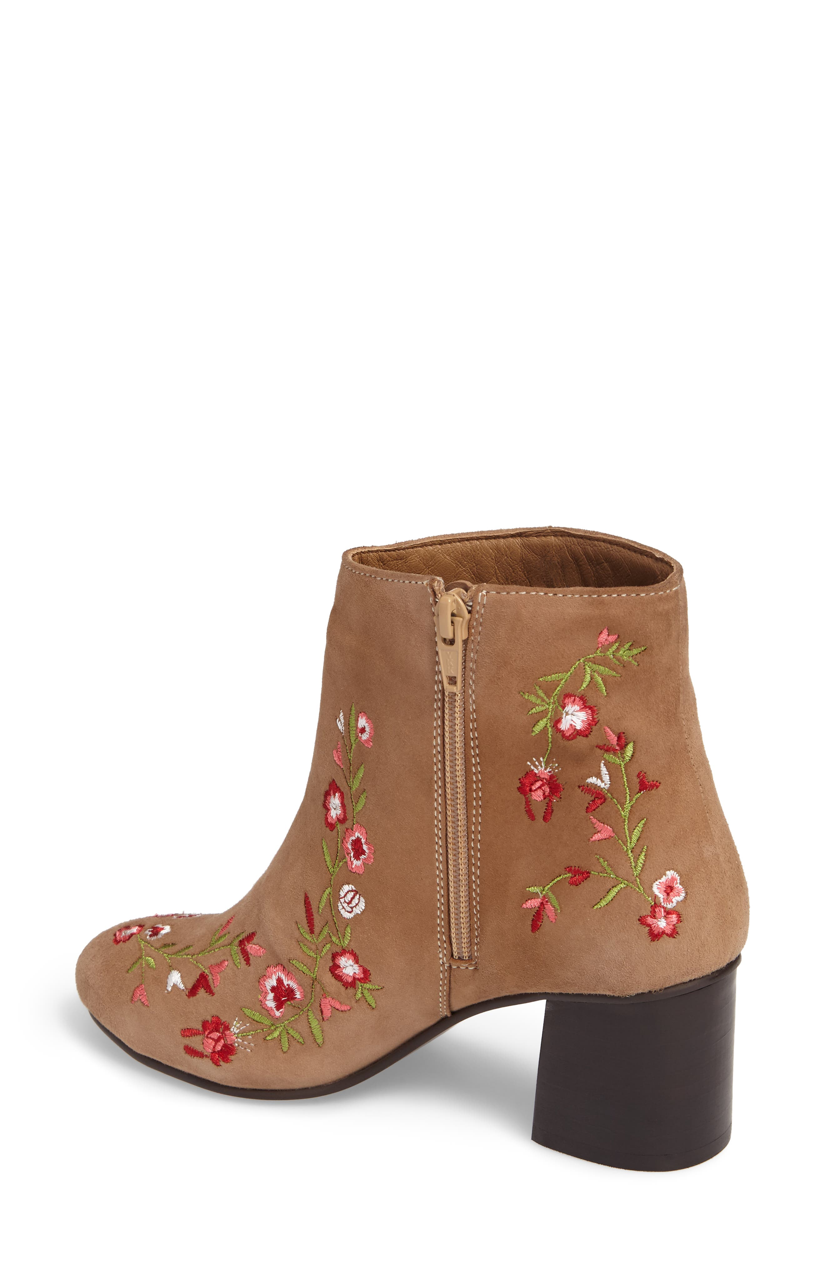 Veronaa Embroidered Bootie,                             Alternate thumbnail 2, color,                             Tan Suede