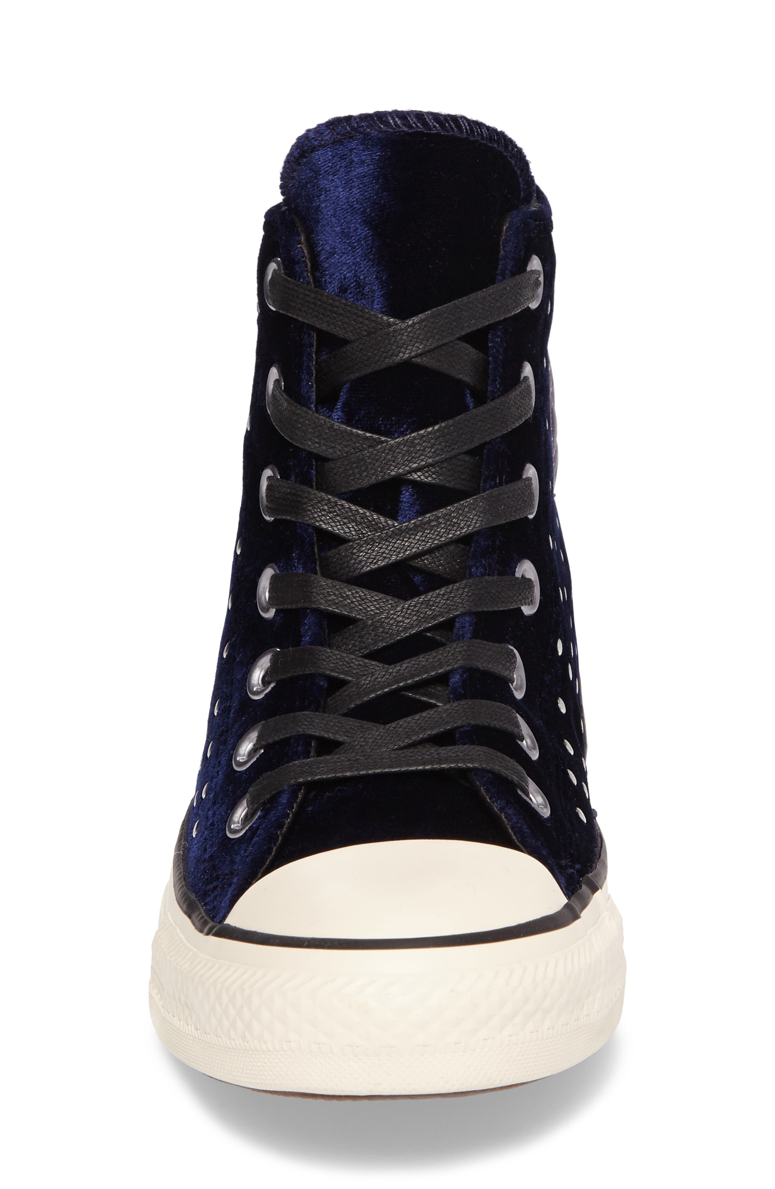 Chuck Taylor<sup>®</sup> All Star<sup>®</sup> Studded High Top Sneakers,                             Alternate thumbnail 4, color,                             Eclipse Velvet